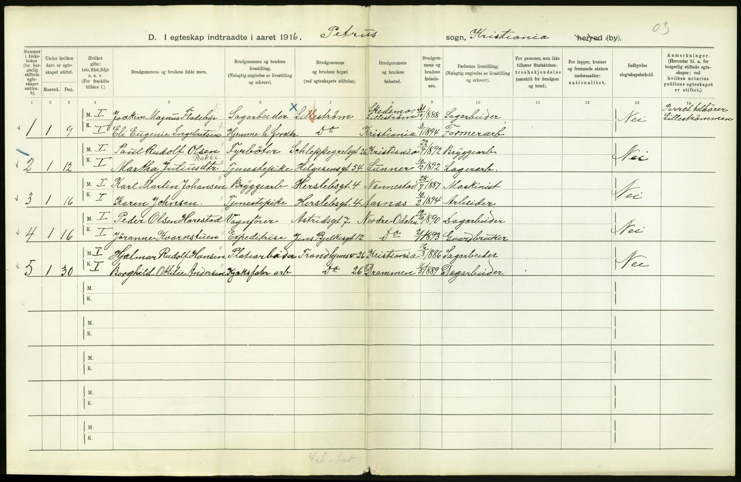 RA, Statistisk sentralbyrå, Sosiodemografiske emner, Befolkning, D/Df/Dfb/Dfbf/L0008: Kristiania: Gifte, 1916