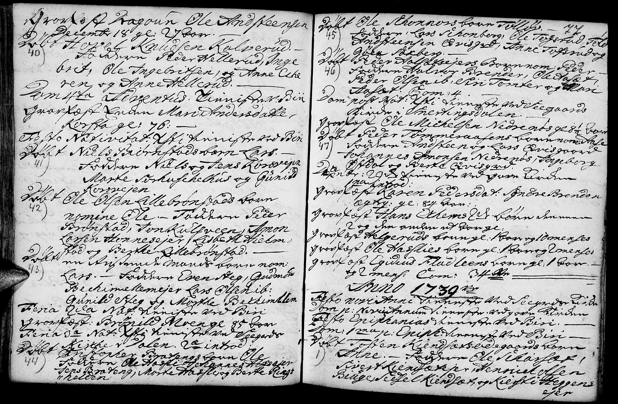 SAH, Biri prestekontor, Parish register (official) no. 1, 1730-1754, p. 77