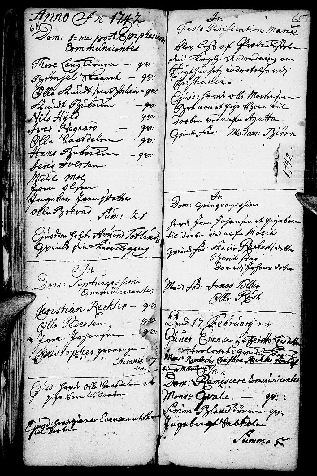 SAH, Kvikne prestekontor, Parish register (official) no. 1, 1740-1756, p. 64-65