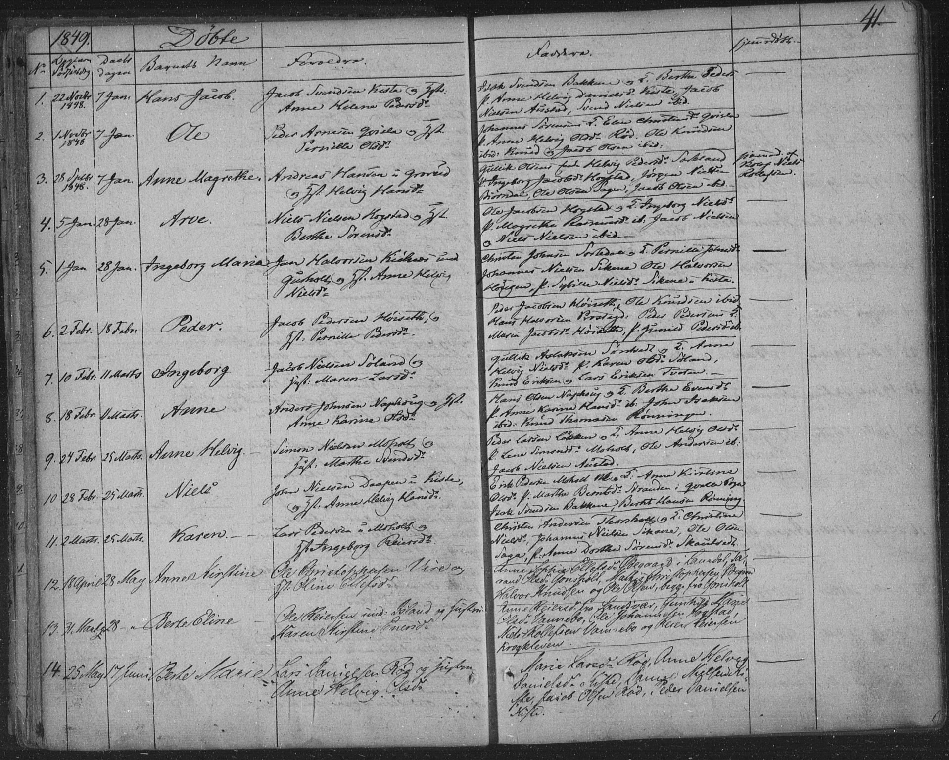 SAKO, Siljan kirkebøker, F/Fa/L0001: Parish register (official) no. 1, 1831-1870, p. 41
