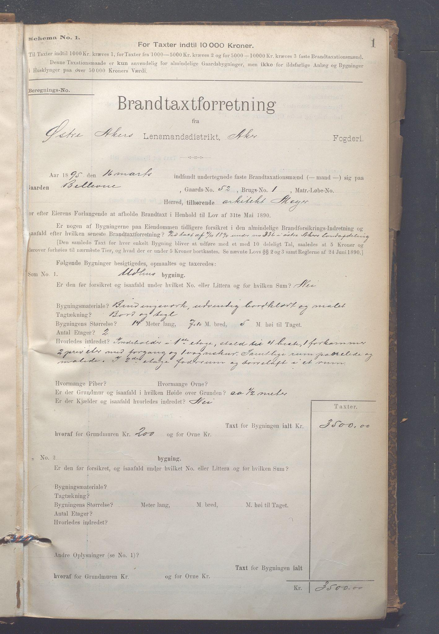 OBA, Lensmennene i Aker, F/Fc/L0007: Branntakstprotokoll, 1895-1910, p. 1