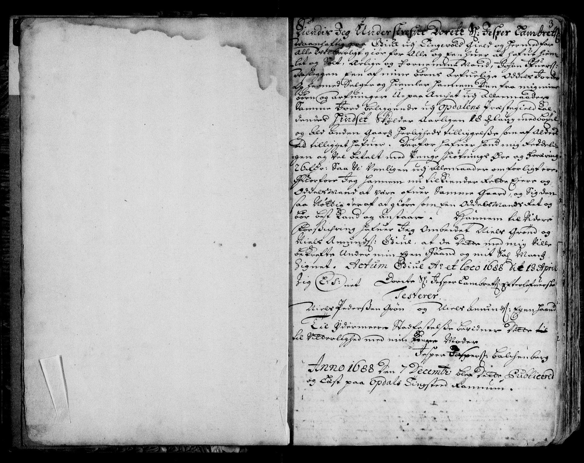 SAT, Orkdal sorenskriveri , 2/2C/L0001: Mortgage book no. A, 1688-1700, p. 3