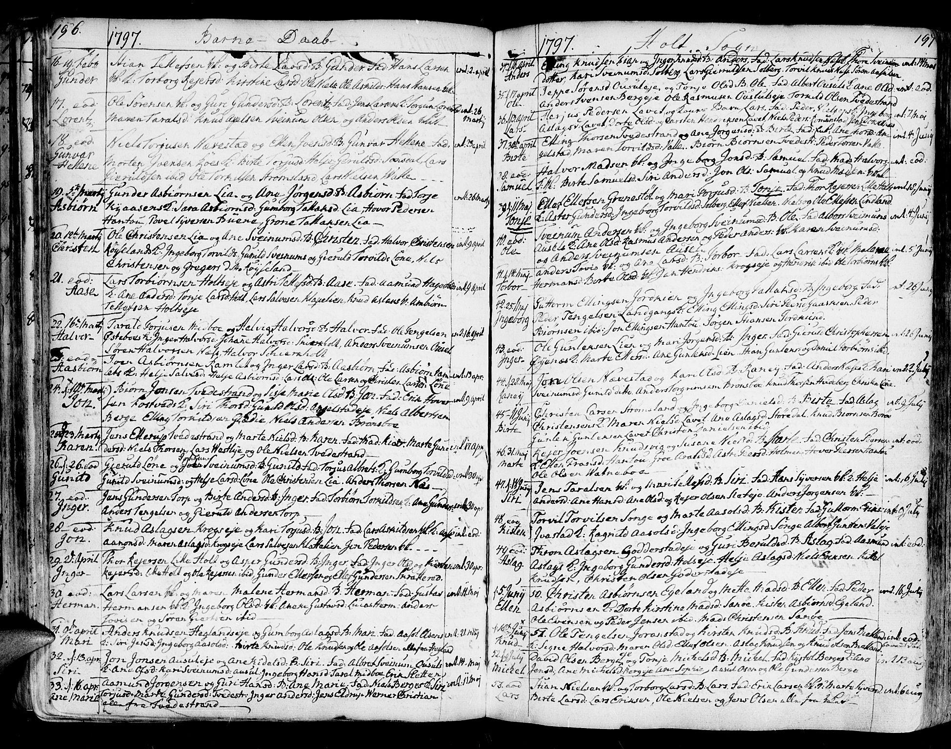 SAK, Holt sokneprestkontor, F/Fa/L0003: Parish register (official) no. A 3, 1765-1798, p. 196-197