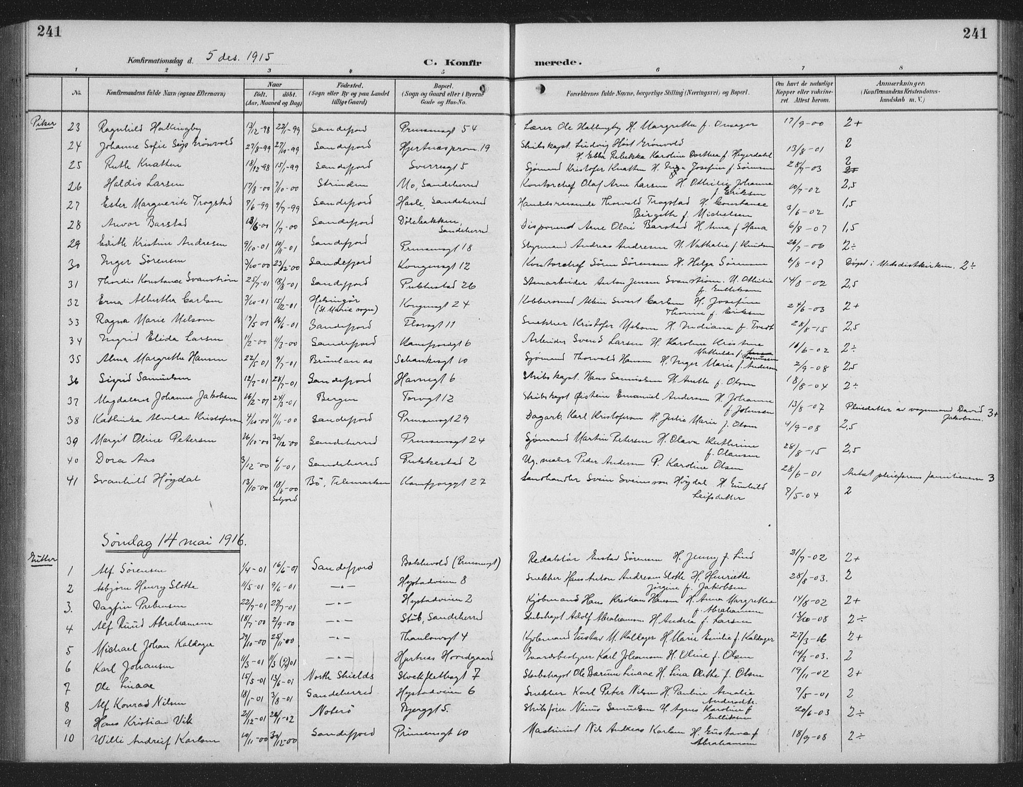 SAKO, Sandefjord kirkebøker, G/Ga/L0003: Parish register (copy) no. 3, 1903-1920, p. 241