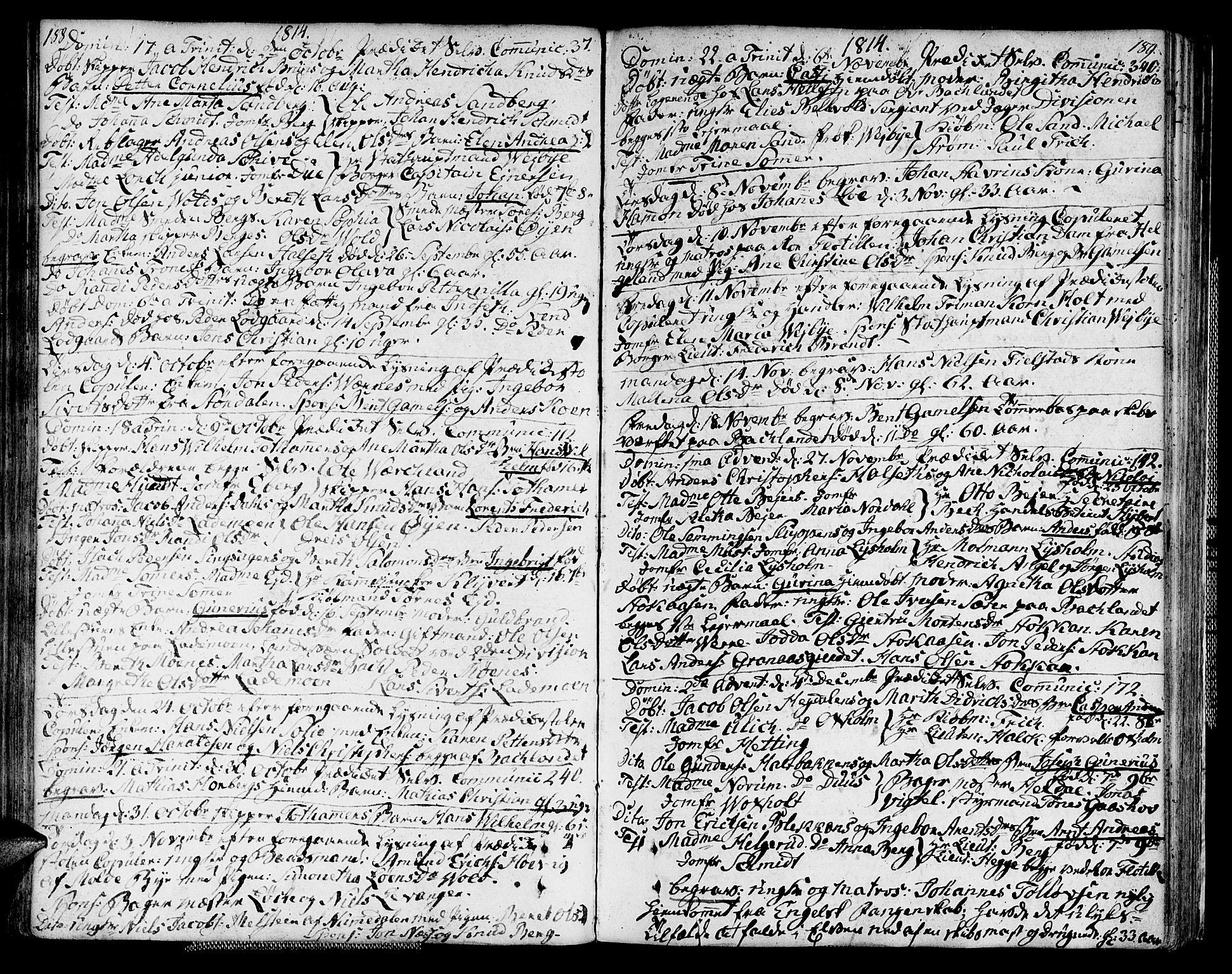 SAT, Ministerialprotokoller, klokkerbøker og fødselsregistre - Sør-Trøndelag, 604/L0181: Parish register (official) no. 604A02, 1798-1817, p. 188-189
