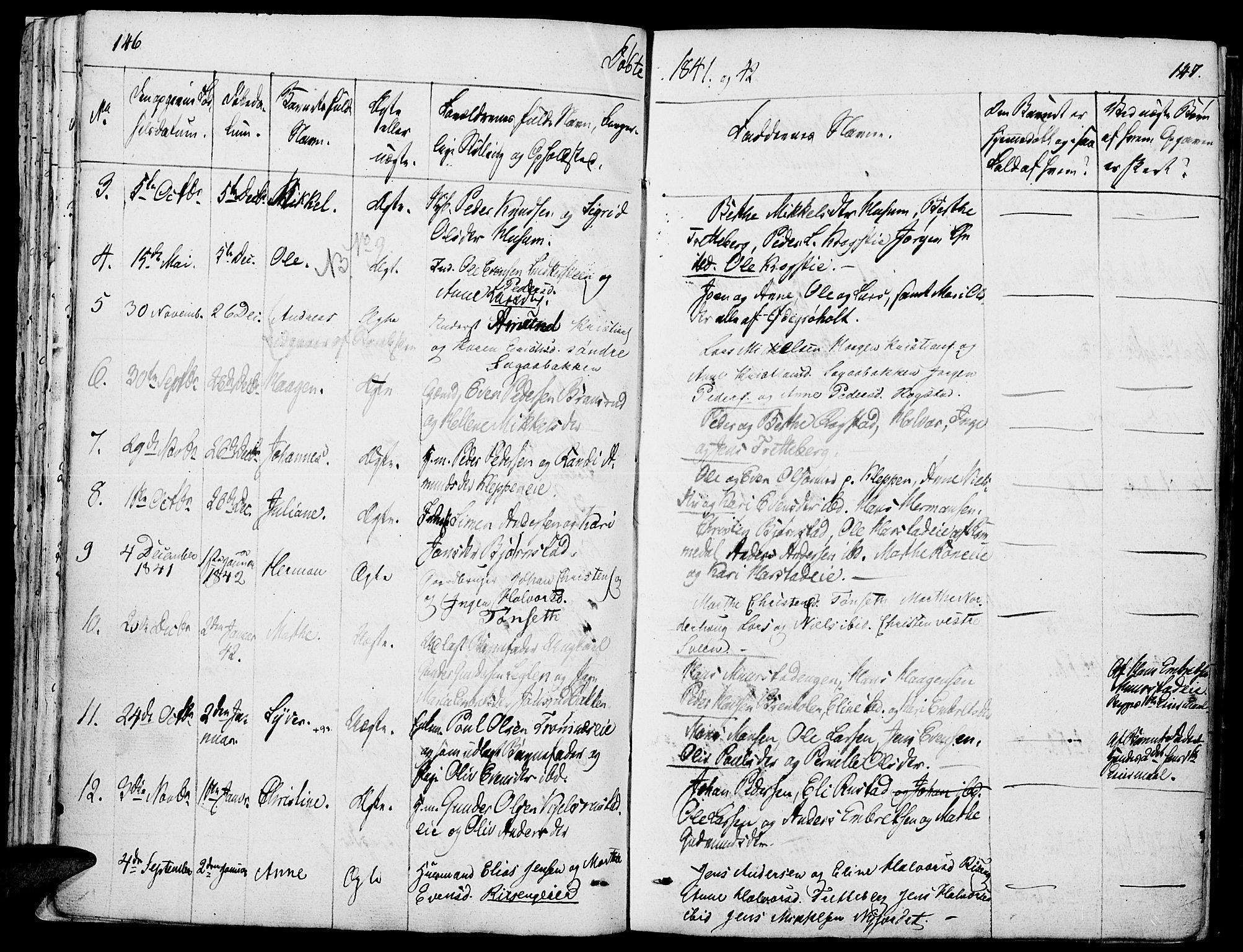 SAH, Løten prestekontor, K/Ka/L0006: Parish register (official) no. 6, 1832-1849, p. 146-147
