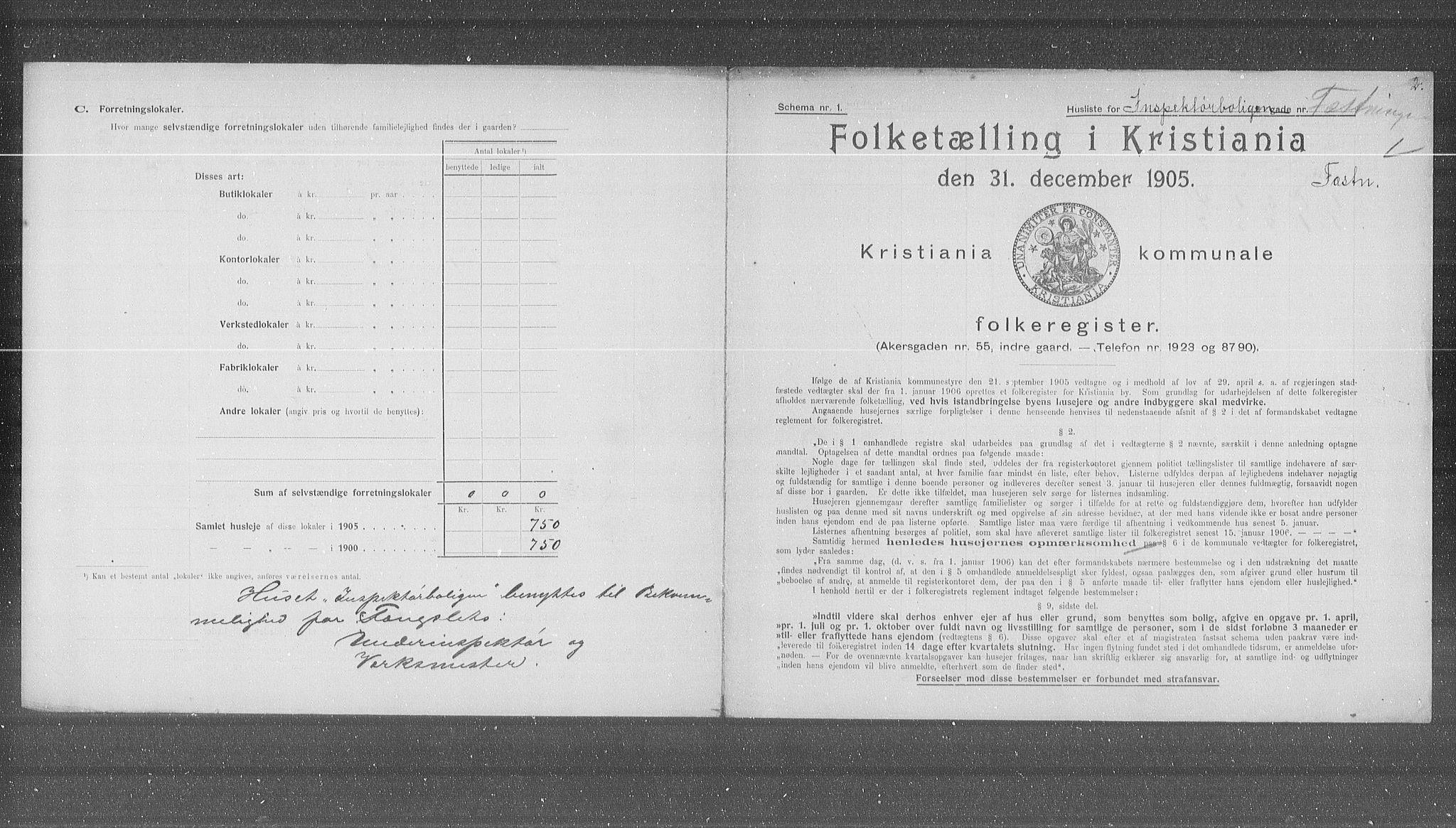 OBA, Municipal Census 1905 for Kristiania, 1905, p. 14750