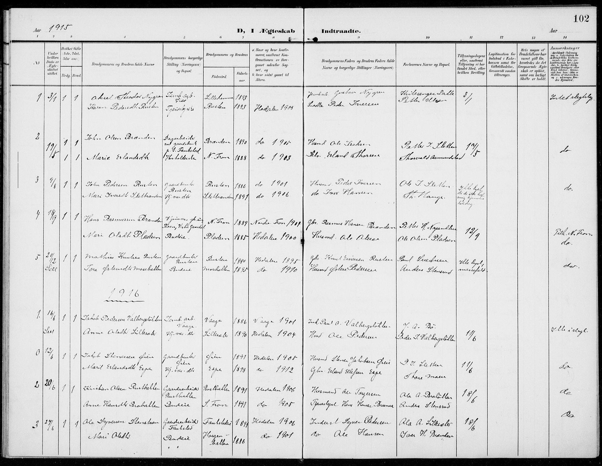 SAH, Sel prestekontor, Parish register (official) no. 1, 1905-1922, p. 102