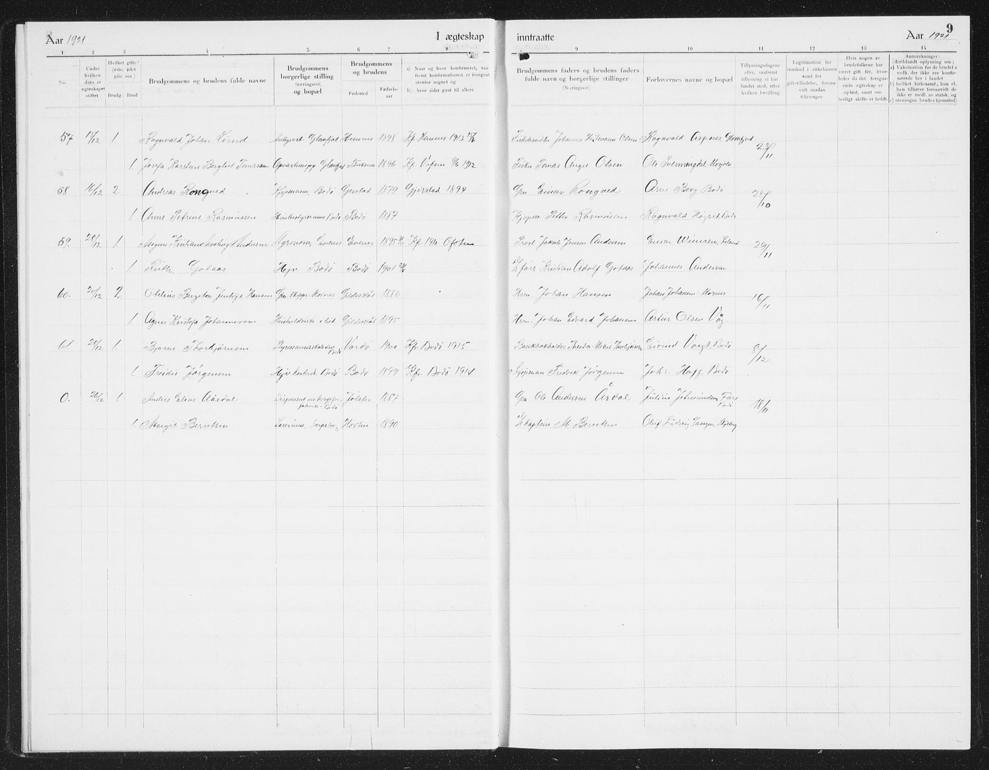 SAT, Ministerialprotokoller, klokkerbøker og fødselsregistre - Nordland, 801/L0036: Parish register (copy) no. 801C11, 1920-1934, p. 9