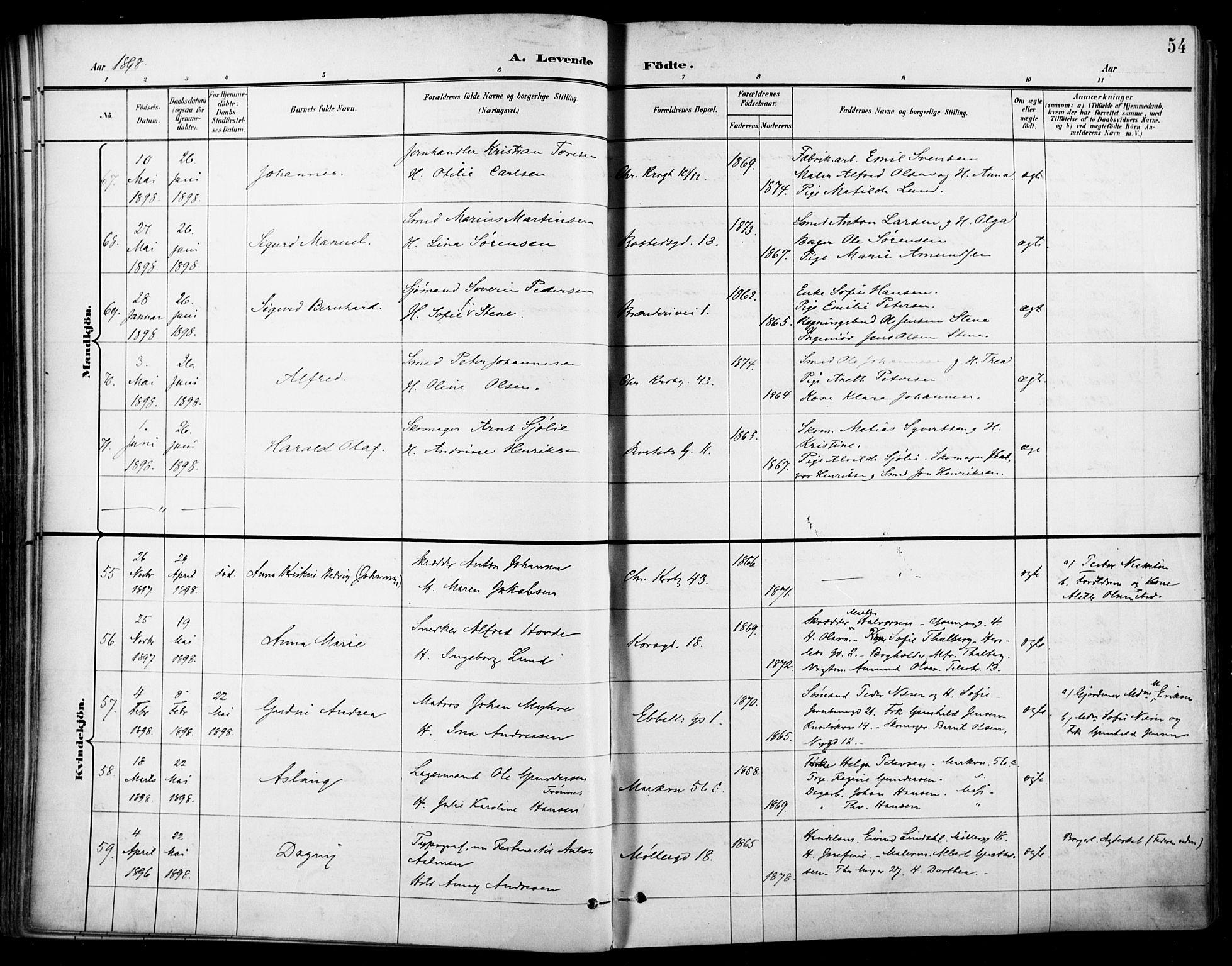 SAO, Jakob prestekontor Kirkebøker, F/Fa/L0005: Parish register (official) no. 5, 1896-1903, p. 54