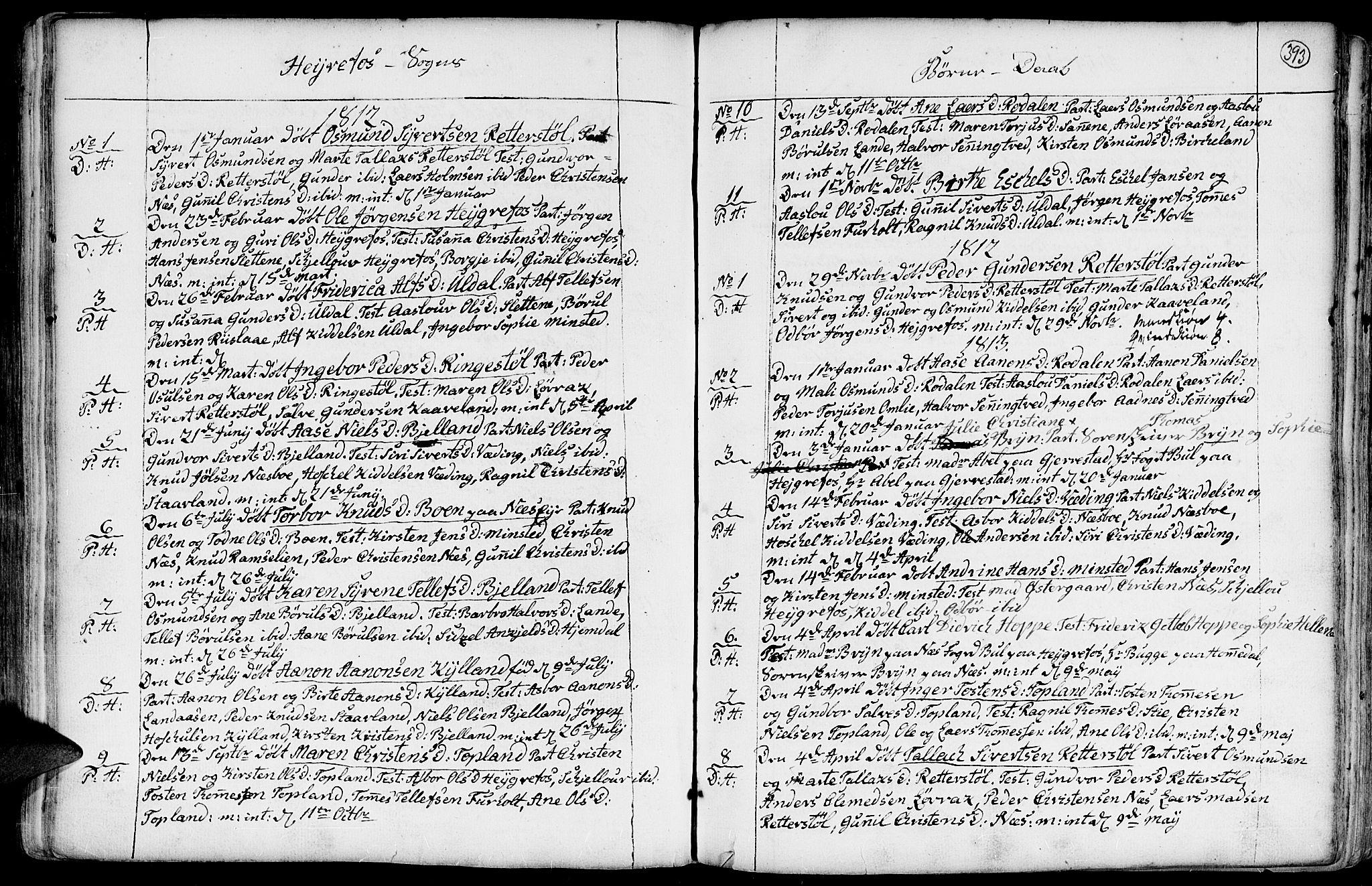 SAK, Hommedal sokneprestkontor, F/Fa/Fab/L0002: Parish register (official) no. A 2 /3, 1740-1821, p. 393