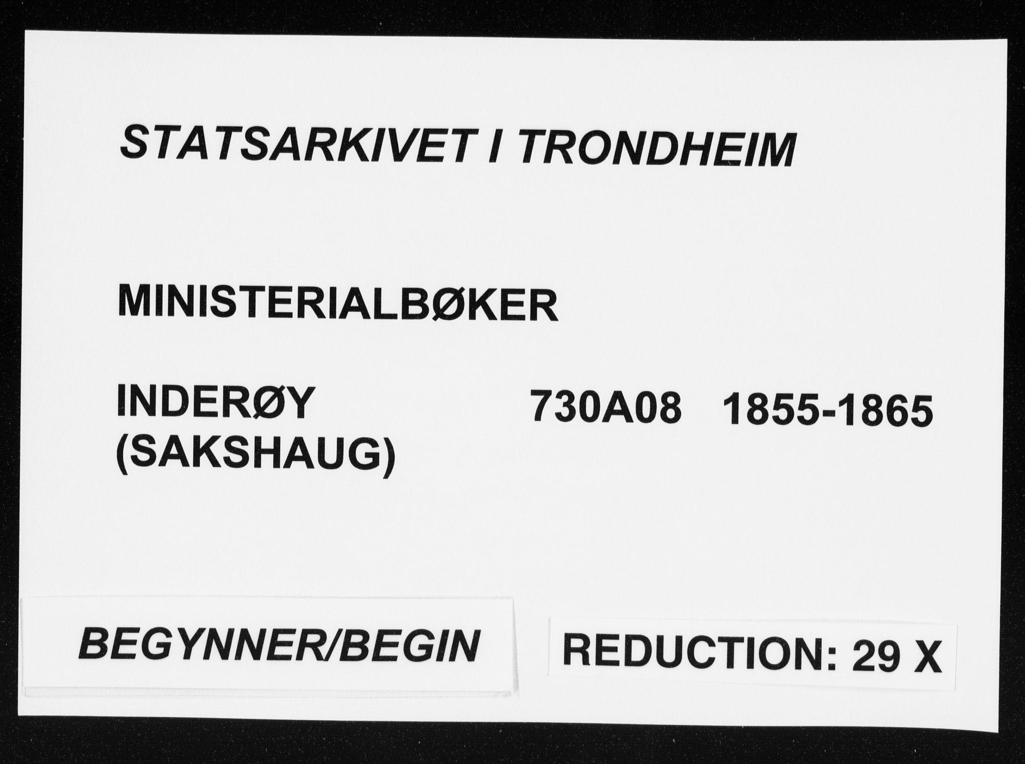 SAT, Ministerialprotokoller, klokkerbøker og fødselsregistre - Nord-Trøndelag, 730/L0283: Parish register (official) no. 730A08, 1855-1865