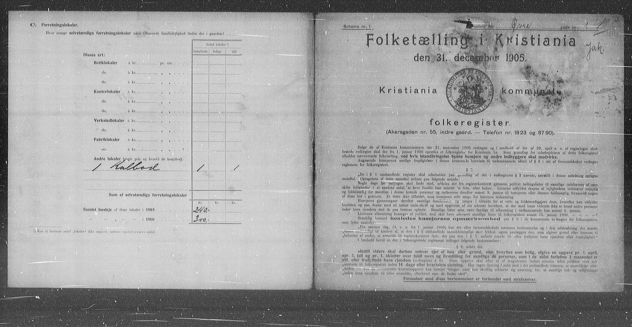 OBA, Municipal Census 1905 for Kristiania, 1905, p. 68201