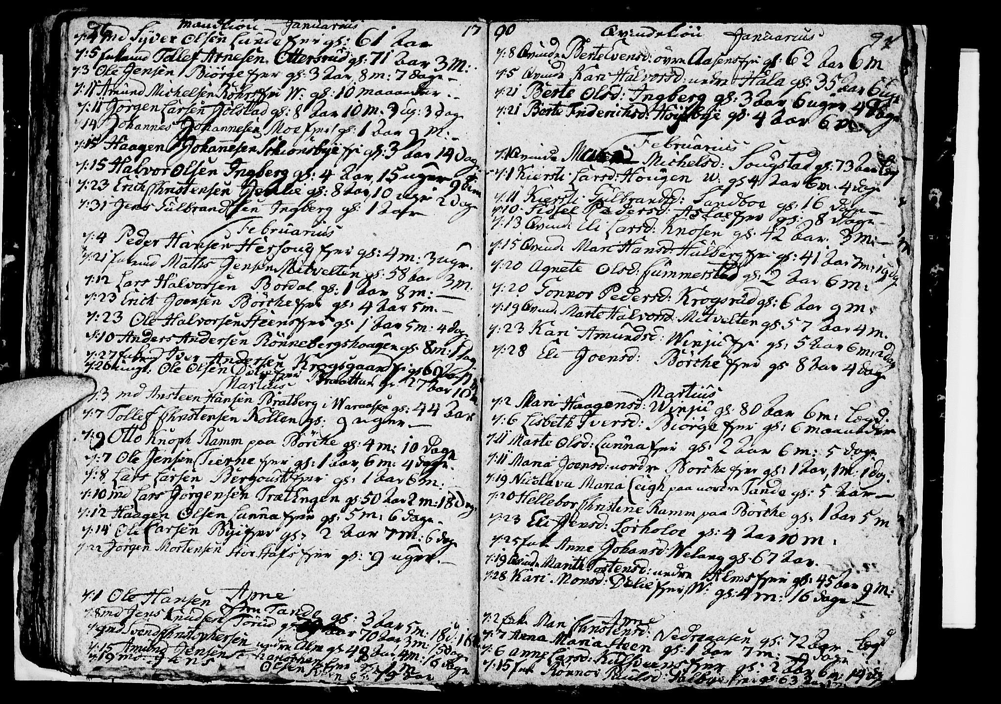 SAH, Ringsaker prestekontor, I/Ia/L0005/0005: Parish register draft no. 1E, 1790-1792, p. 96-97
