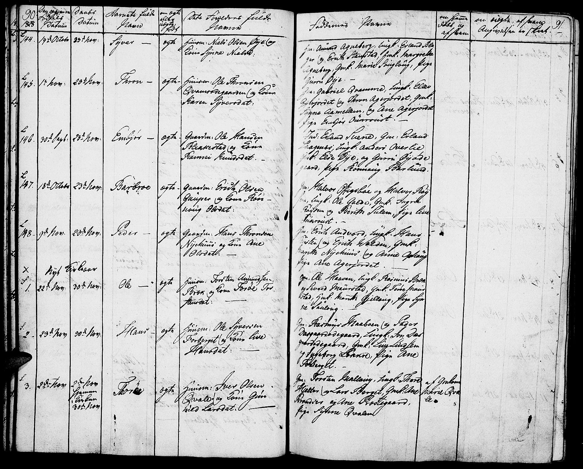 SAH, Lom prestekontor, K/L0005: Parish register (official) no. 5, 1825-1837, p. 90-91