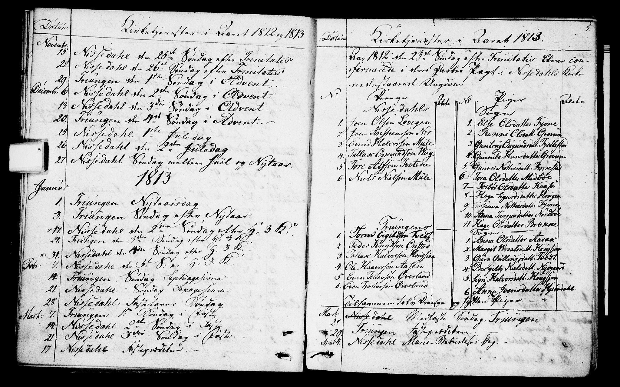 SAKO, Nissedal kirkebøker, F/Fa/L0001: Parish register (official) no. I 1, 1811-1814, p. 5