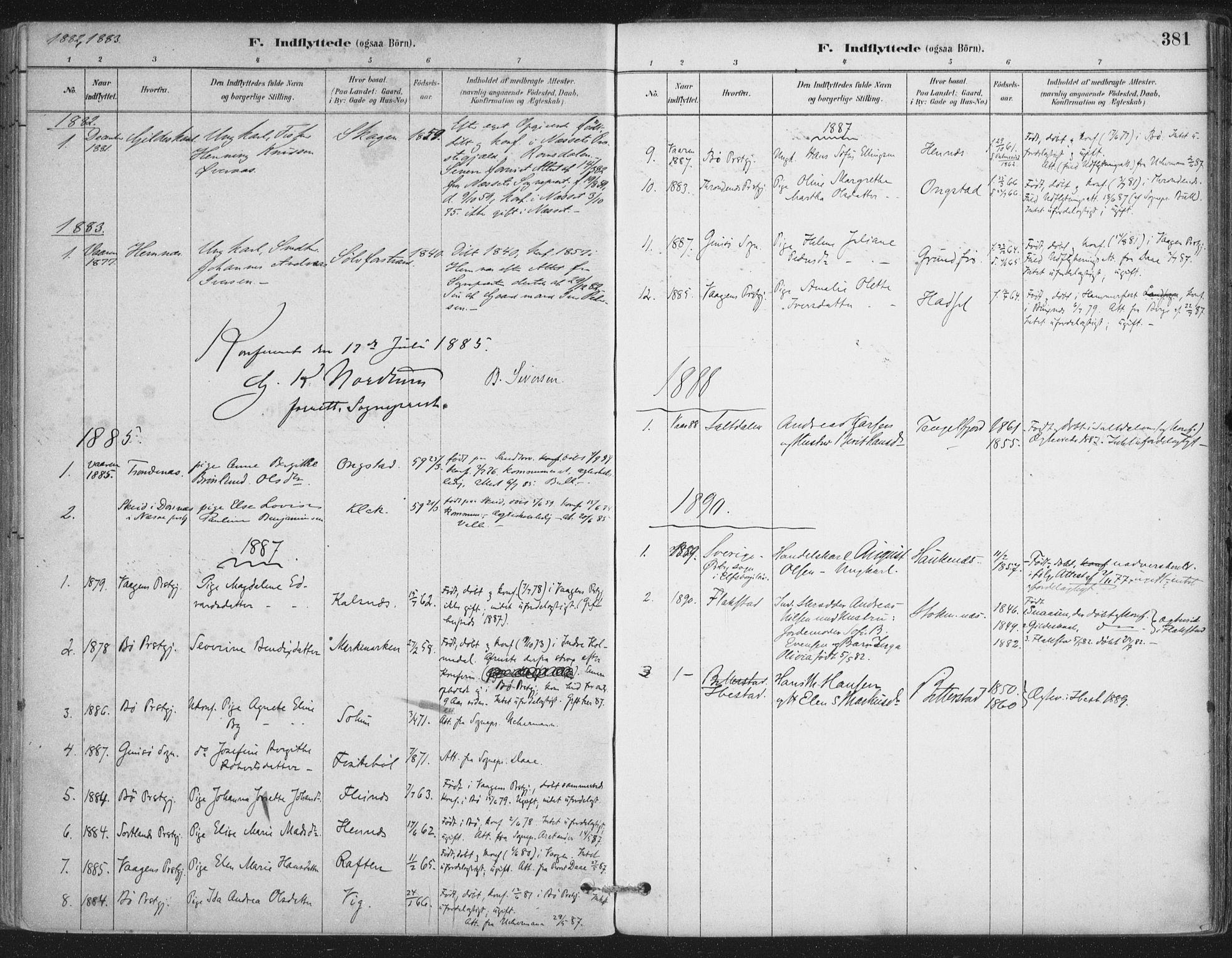 SAT, Ministerialprotokoller, klokkerbøker og fødselsregistre - Nordland, 888/L1244: Parish register (official) no. 888A10, 1880-1890, p. 381
