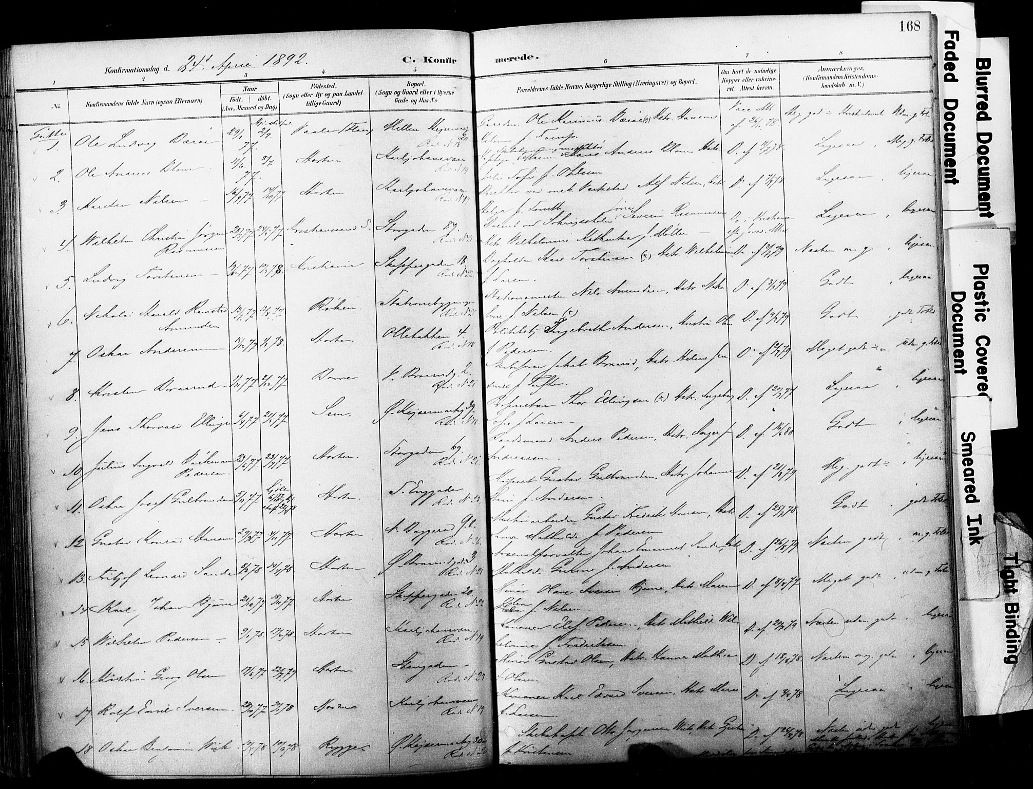 SAKO, Horten kirkebøker, F/Fa/L0004: Parish register (official) no. 4, 1888-1895, p. 168