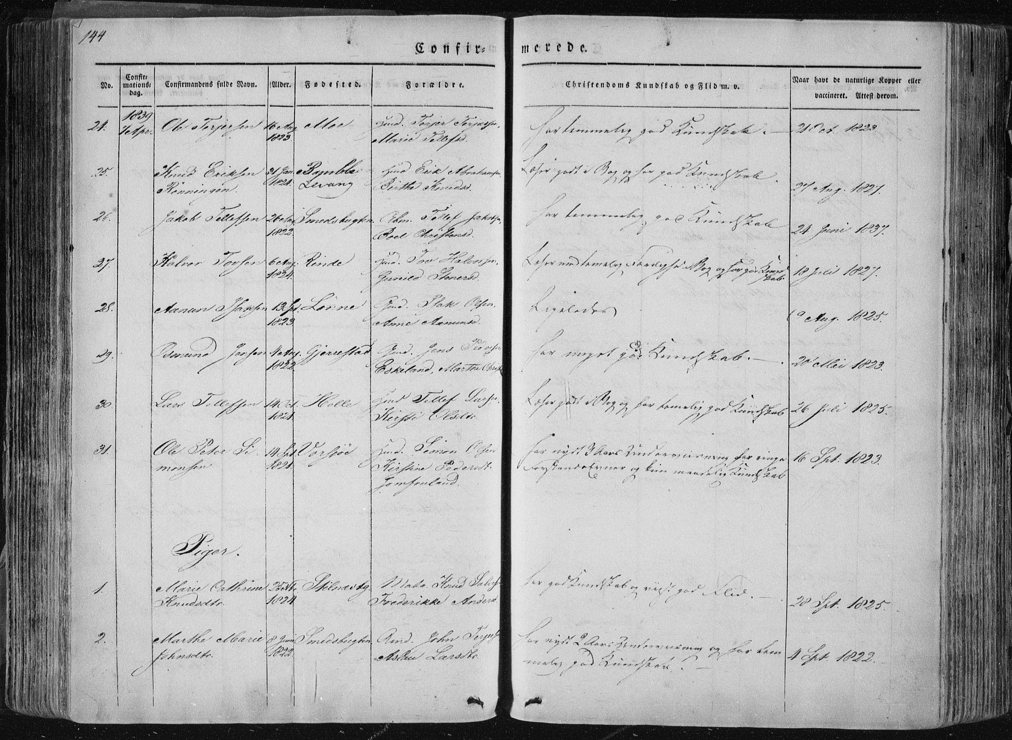 SAKO, Sannidal kirkebøker, F/Fa/L0007: Parish register (official) no. 7, 1831-1854, p. 144