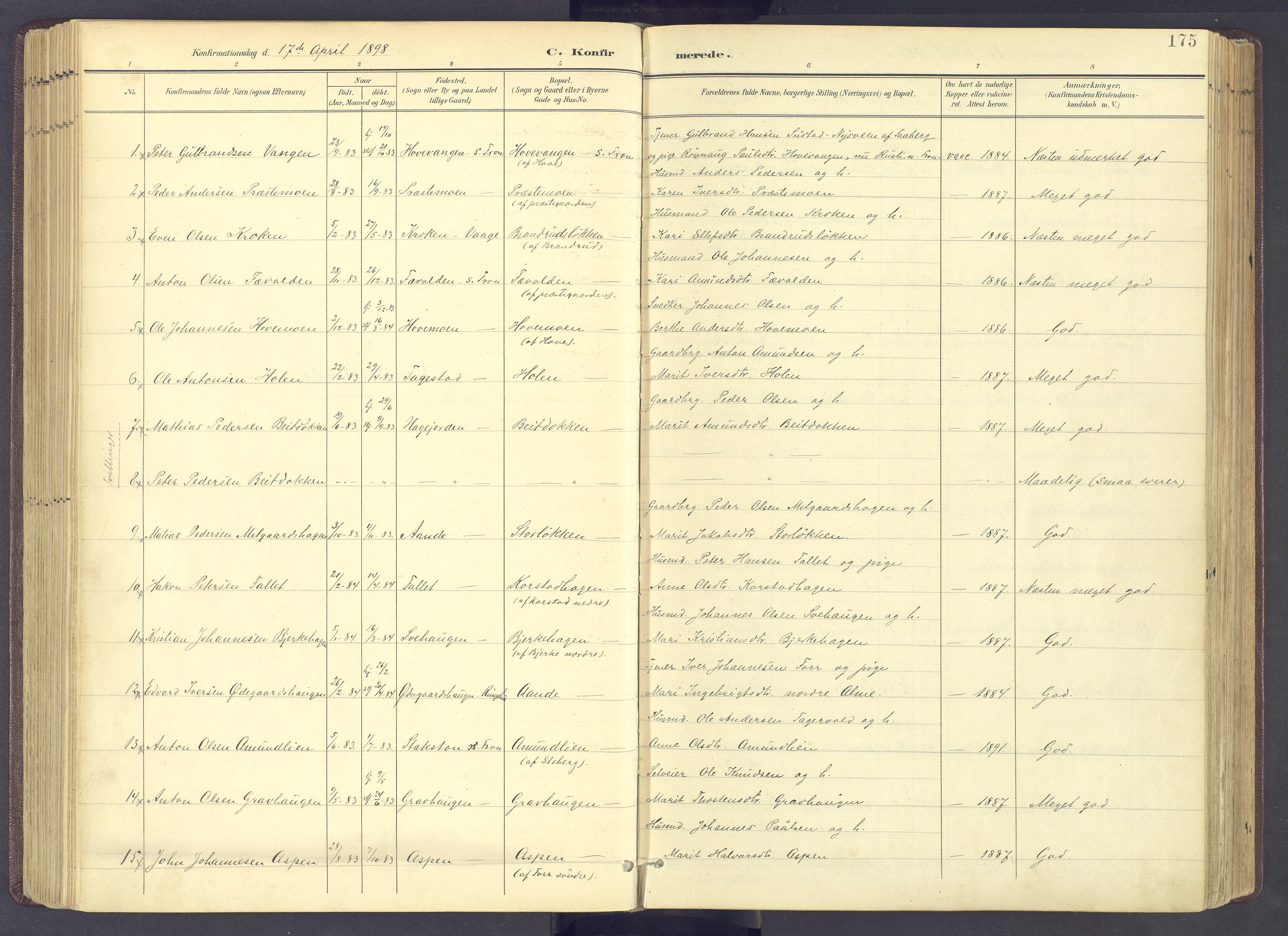 SAH, Sør-Fron prestekontor, H/Ha/Haa/L0004: Parish register (official) no. 4, 1898-1919, p. 175