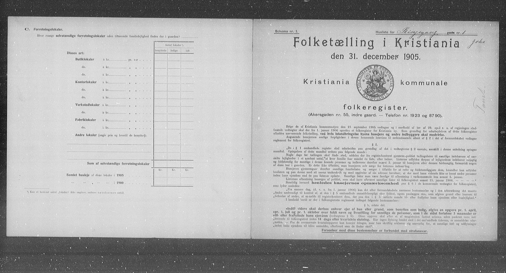 OBA, Municipal Census 1905 for Kristiania, 1905, p. 43805
