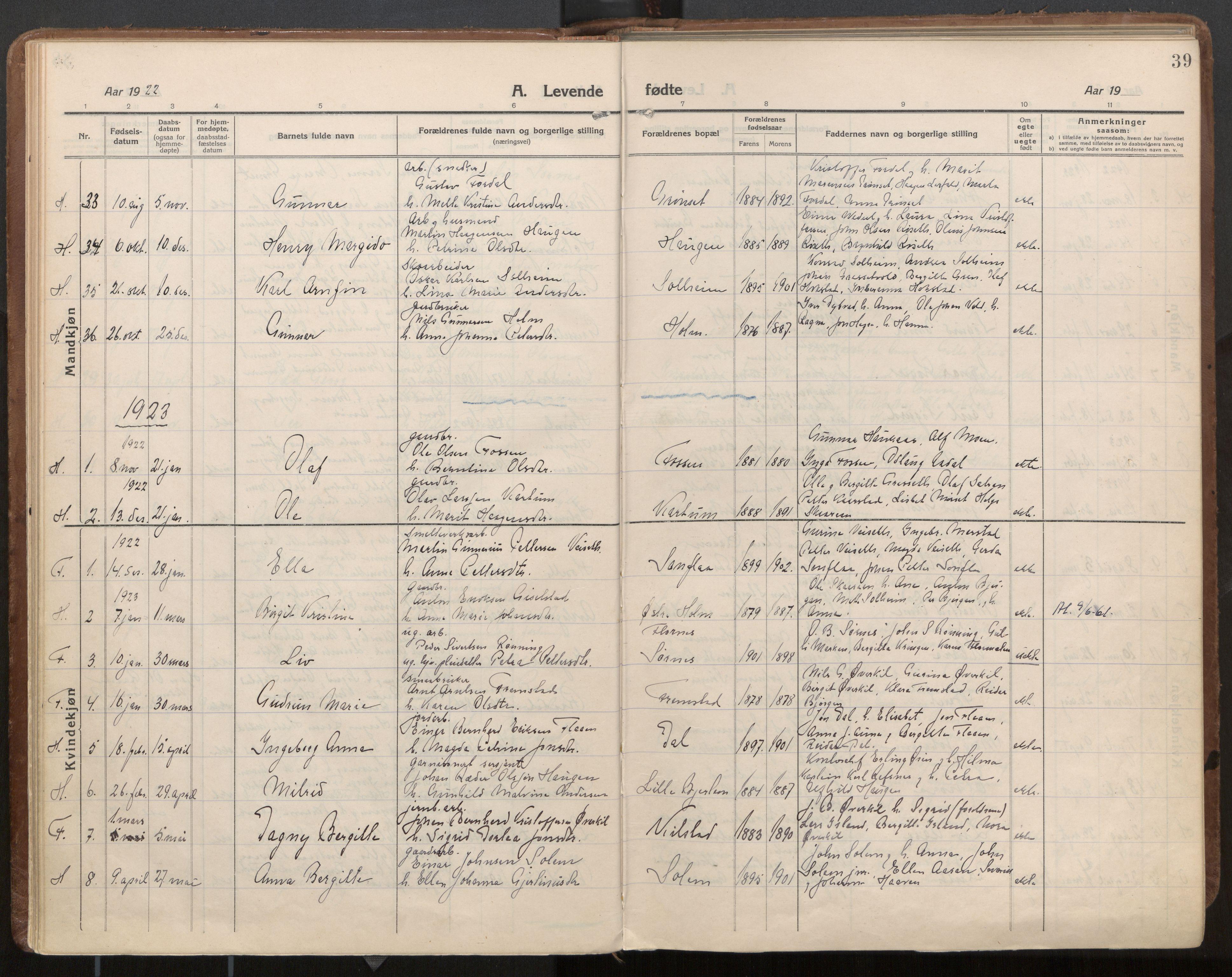 SAT, Ministerialprotokoller, klokkerbøker og fødselsregistre - Nord-Trøndelag, 703/L0037: Parish register (official) no. 703A10, 1915-1932, p. 39