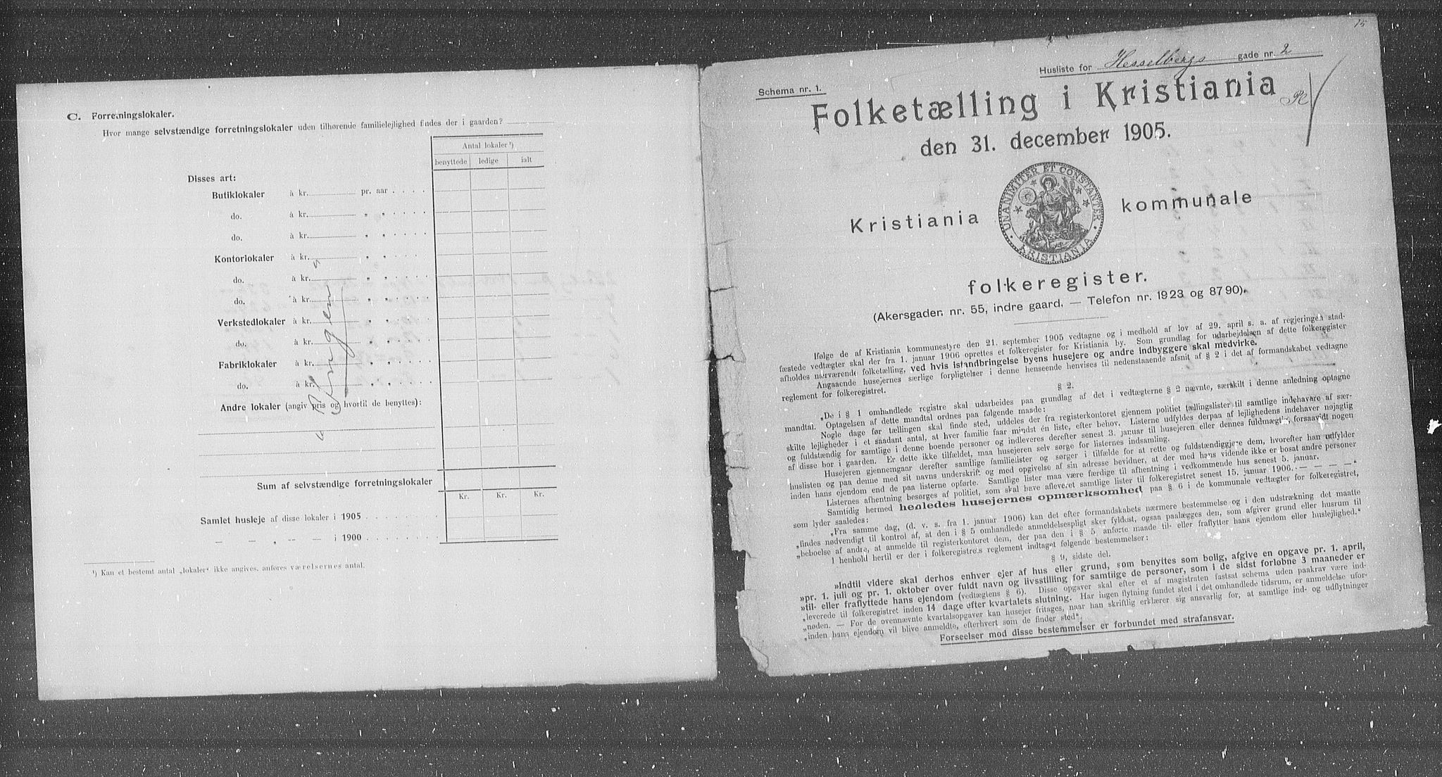 OBA, Municipal Census 1905 for Kristiania, 1905, p. 20727