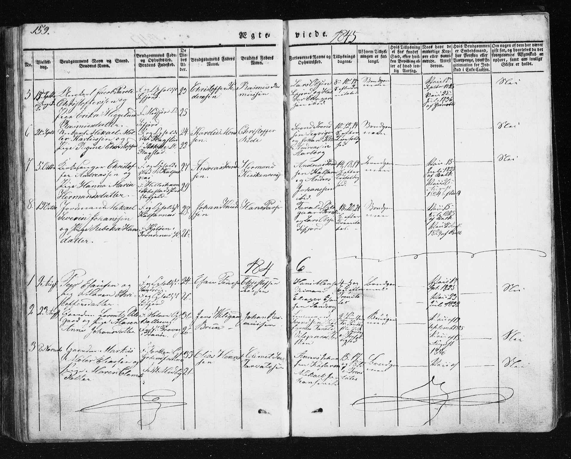 SATØ, Mefjord/Berg sokneprestkontor, G/Ga/Gab/L0011klokker: Parish register (copy) no. 11, 1833-1878, p. 159