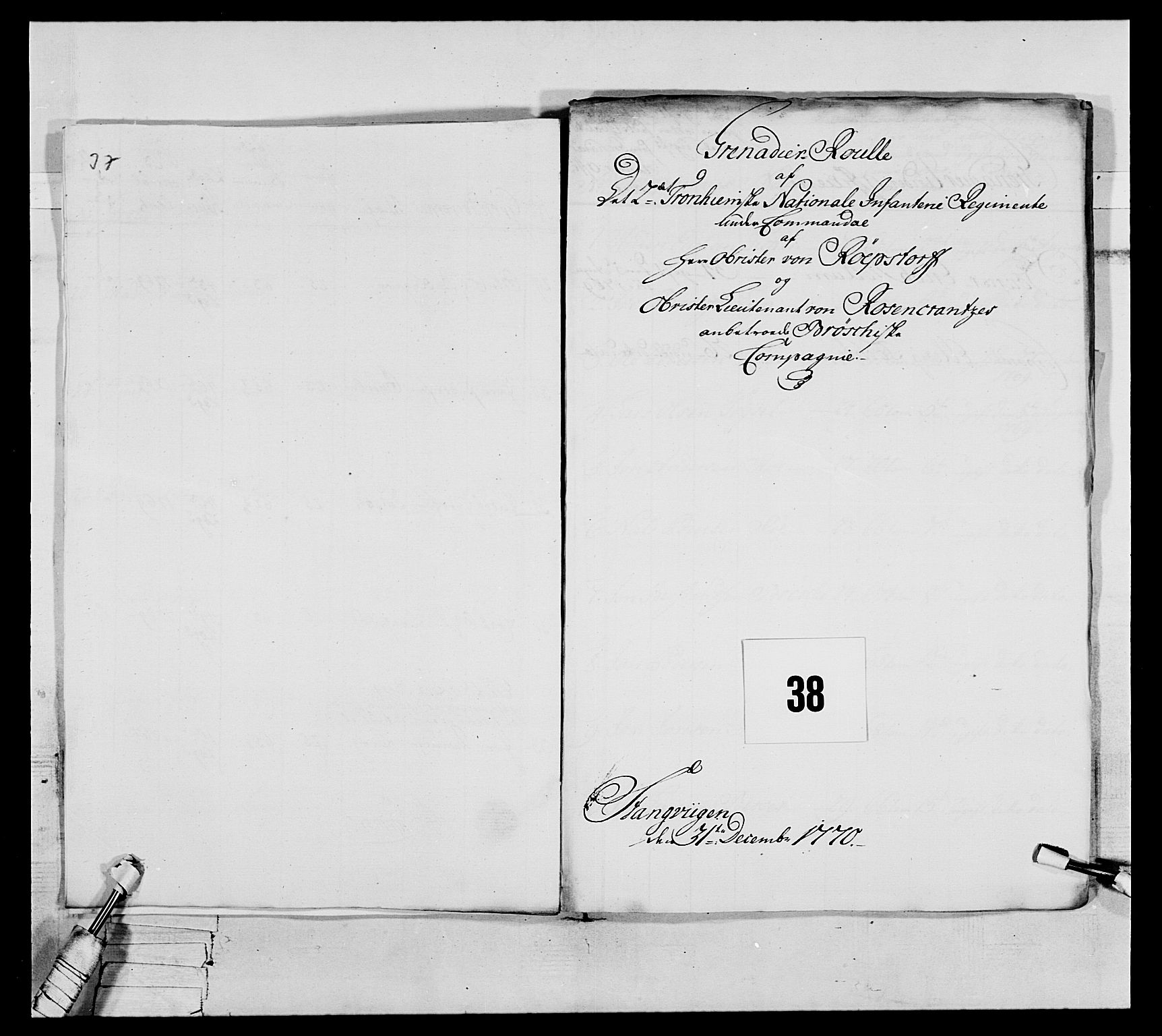 RA, Generalitets- og kommissariatskollegiet, Det kongelige norske kommissariatskollegium, E/Eh/L0076: 2. Trondheimske nasjonale infanteriregiment, 1766-1773, p. 116