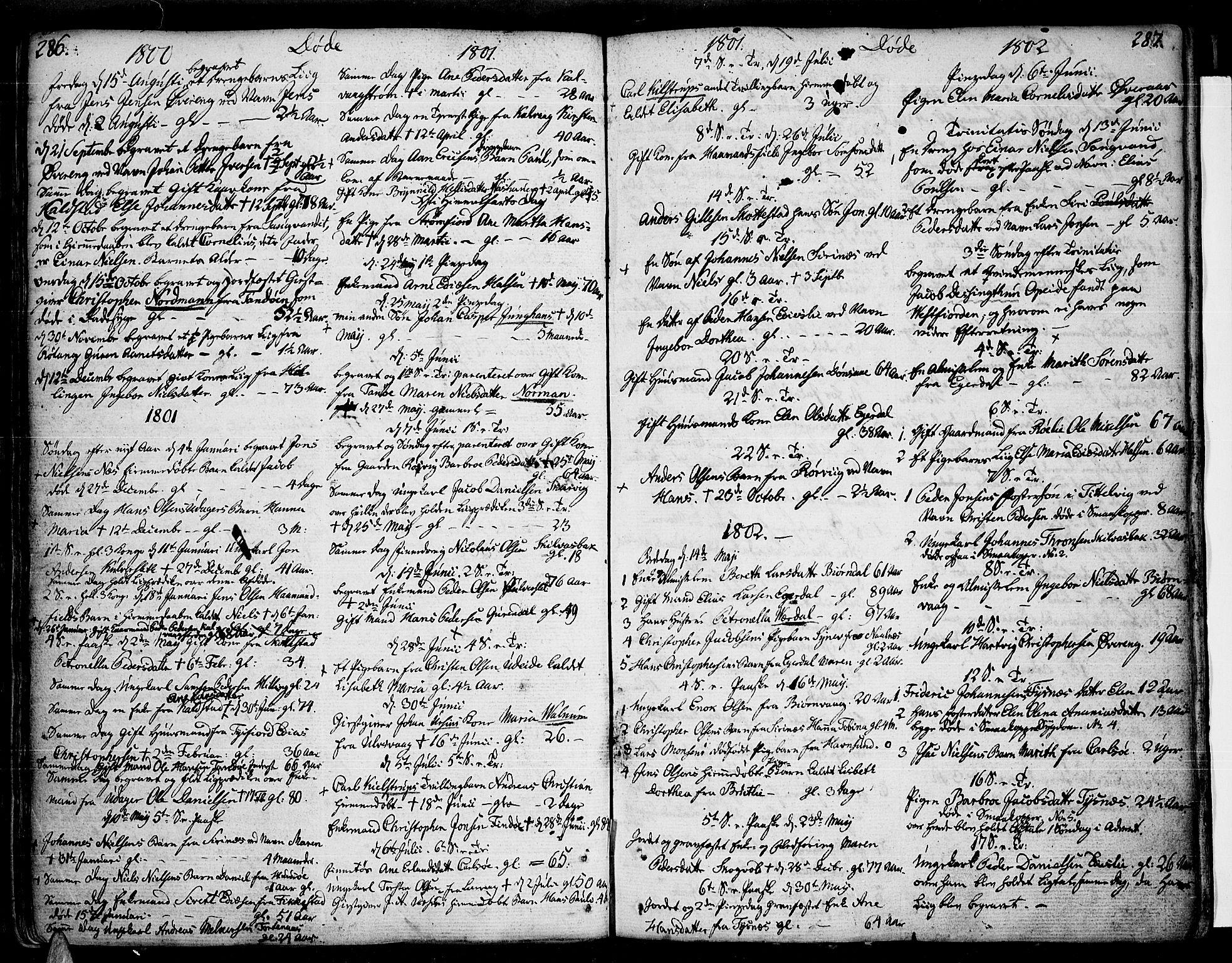 SAT, Ministerialprotokoller, klokkerbøker og fødselsregistre - Nordland, 859/L0841: Parish register (official) no. 859A01, 1766-1821, p. 286-287