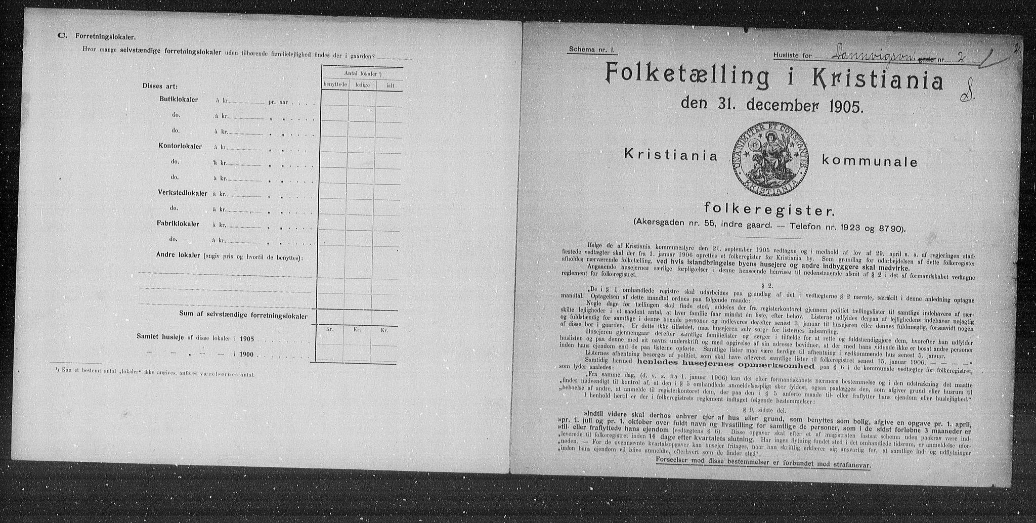 OBA, Municipal Census 1905 for Kristiania, 1905, p. 7834