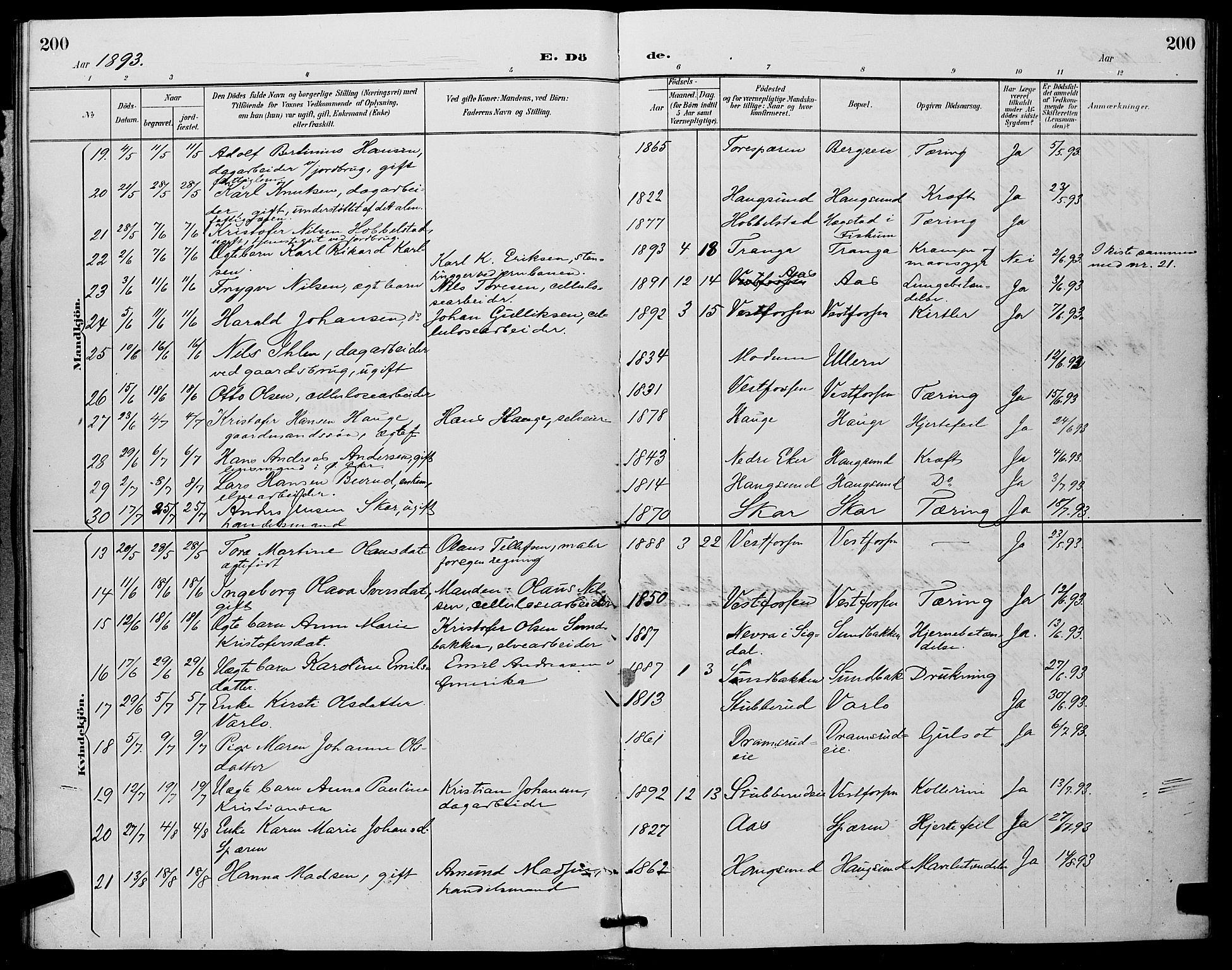 SAKO, Eiker kirkebøker, G/Ga/L0007: Parish register (copy) no. I 7, 1893-1902, p. 200