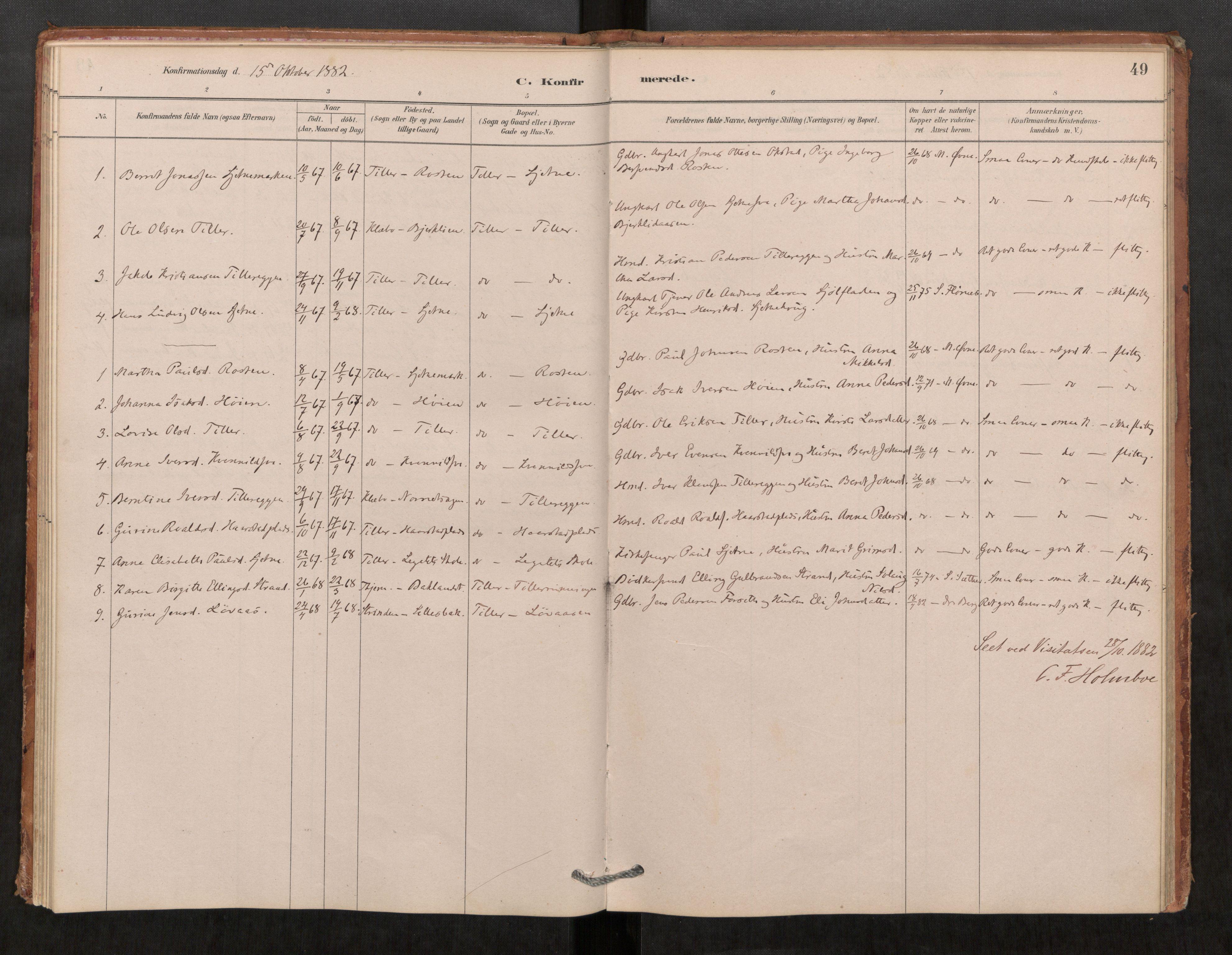 SAT, Klæbu sokneprestkontor, Parish register (official) no. 1, 1880-1900, p. 49