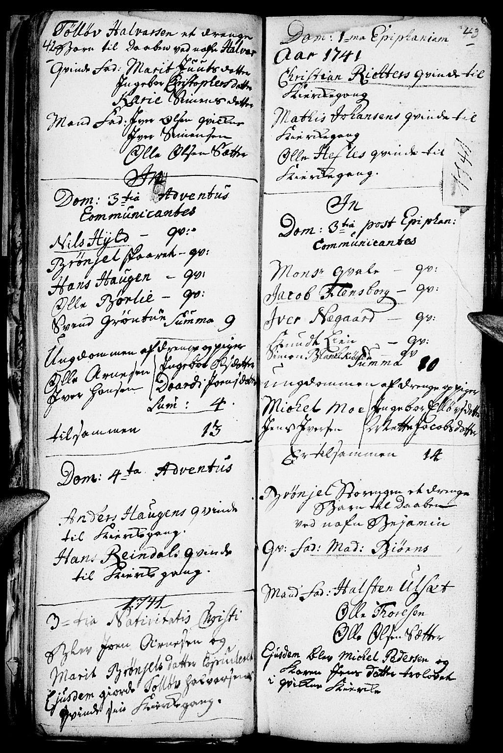 SAH, Kvikne prestekontor, Parish register (official) no. 1, 1740-1756, p. 42-43