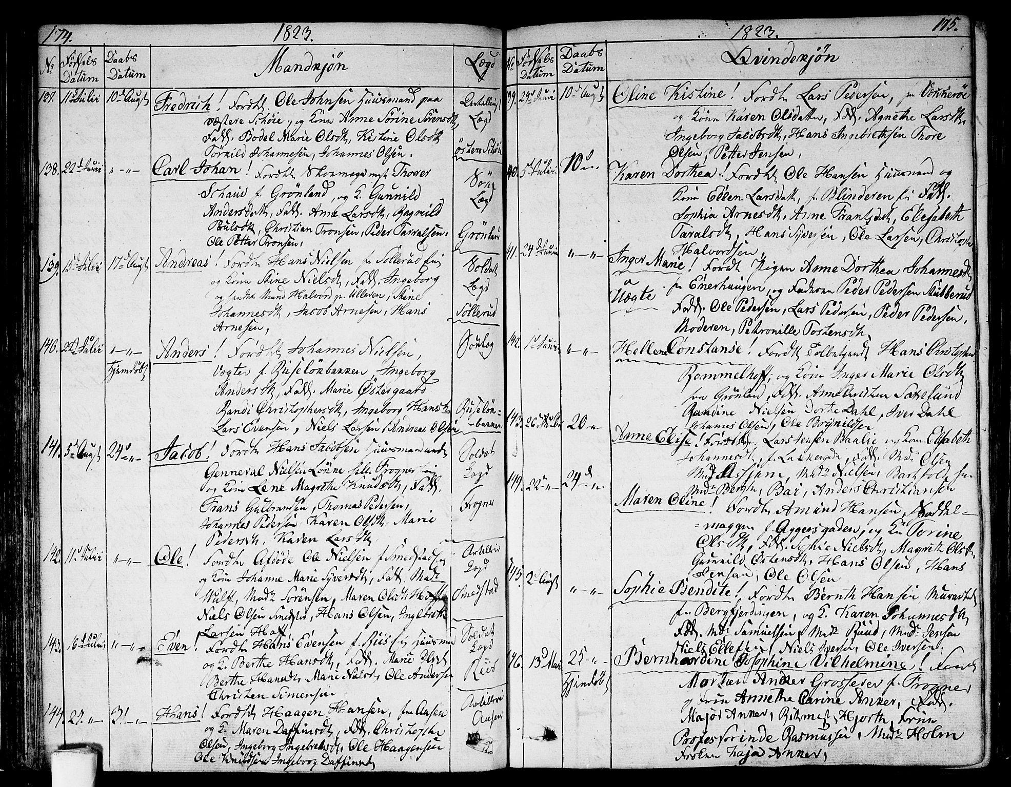 SAO, Aker prestekontor kirkebøker, G/L0004: Parish register (copy) no. 4, 1819-1829, p. 174-175