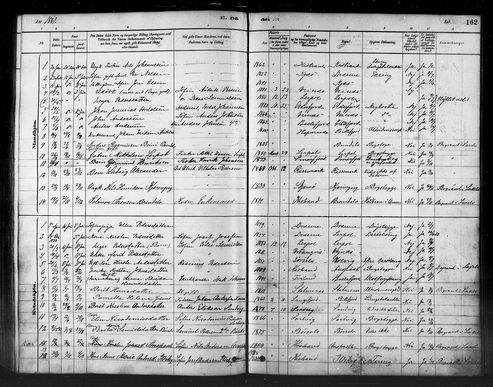 SATØ, Kistrand/Porsanger sokneprestembete, H/Ha/L0007.kirke: Parish register (official) no. 7, 1881-1889, p. 162