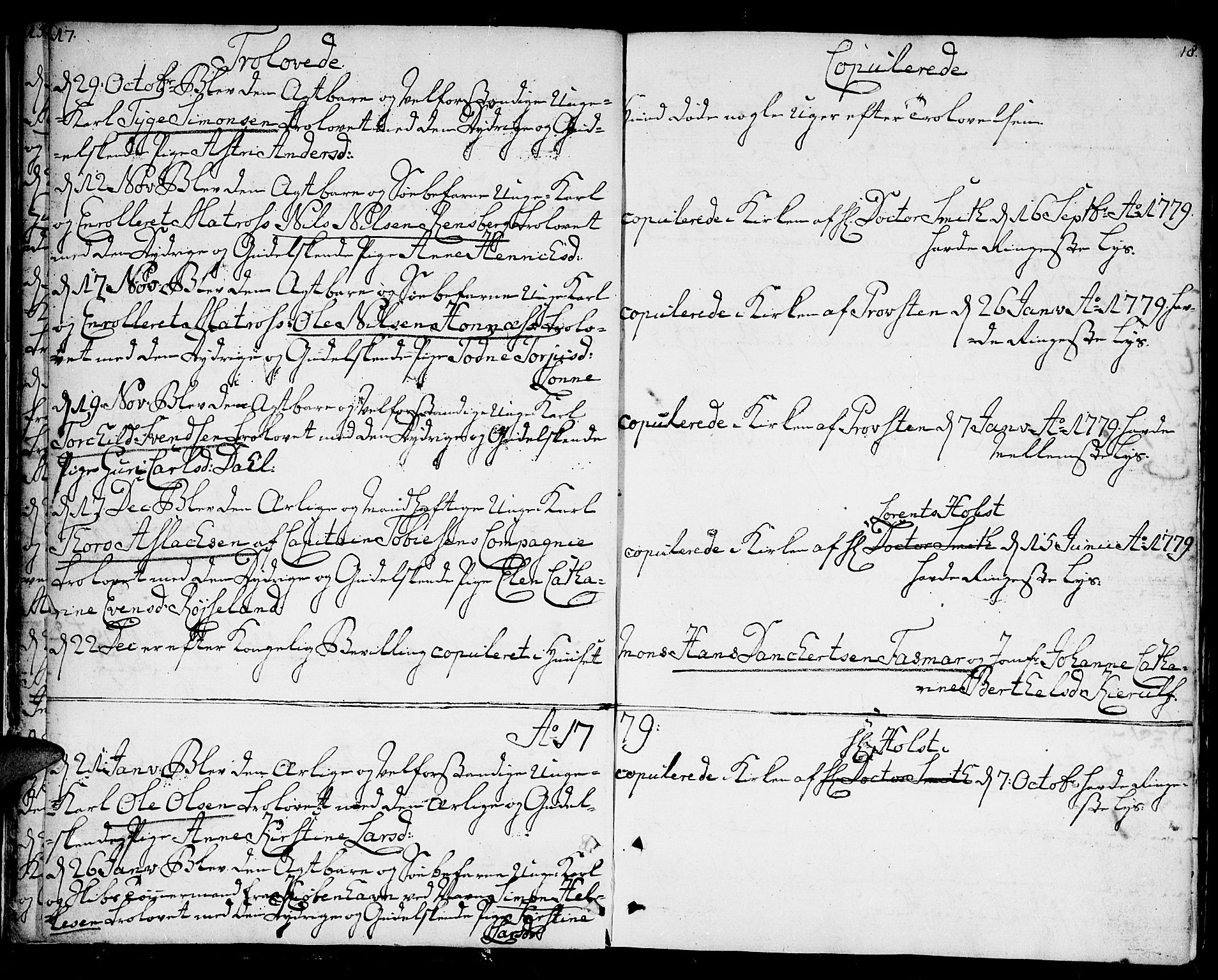 SAK, Kristiansand domprosti, F/Fa/L0005: Parish register (official) no. A 5, 1776-1818, p. 17-18