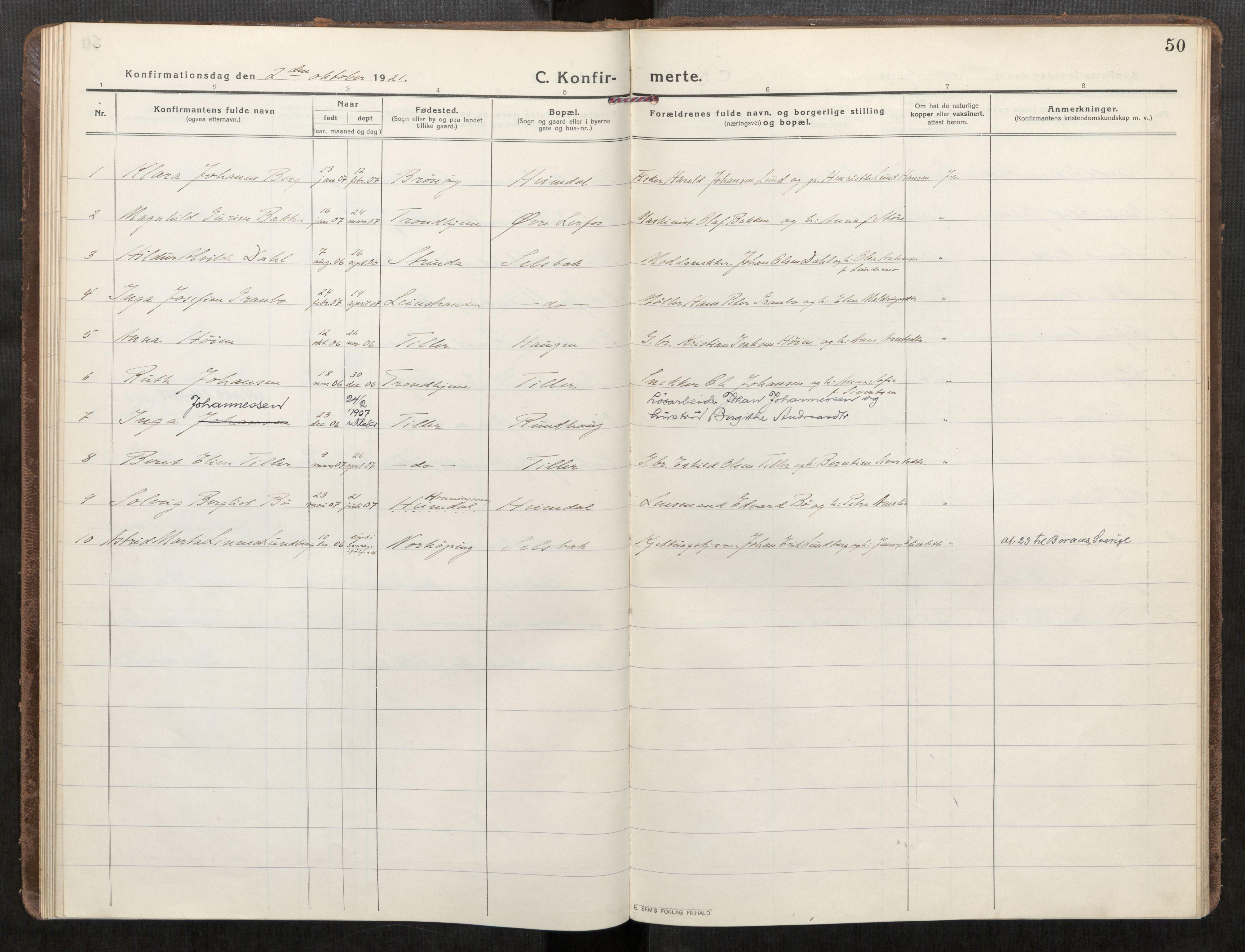 SAT, Klæbu sokneprestkontor, Parish register (official) no. 3, 1917-1924, p. 50