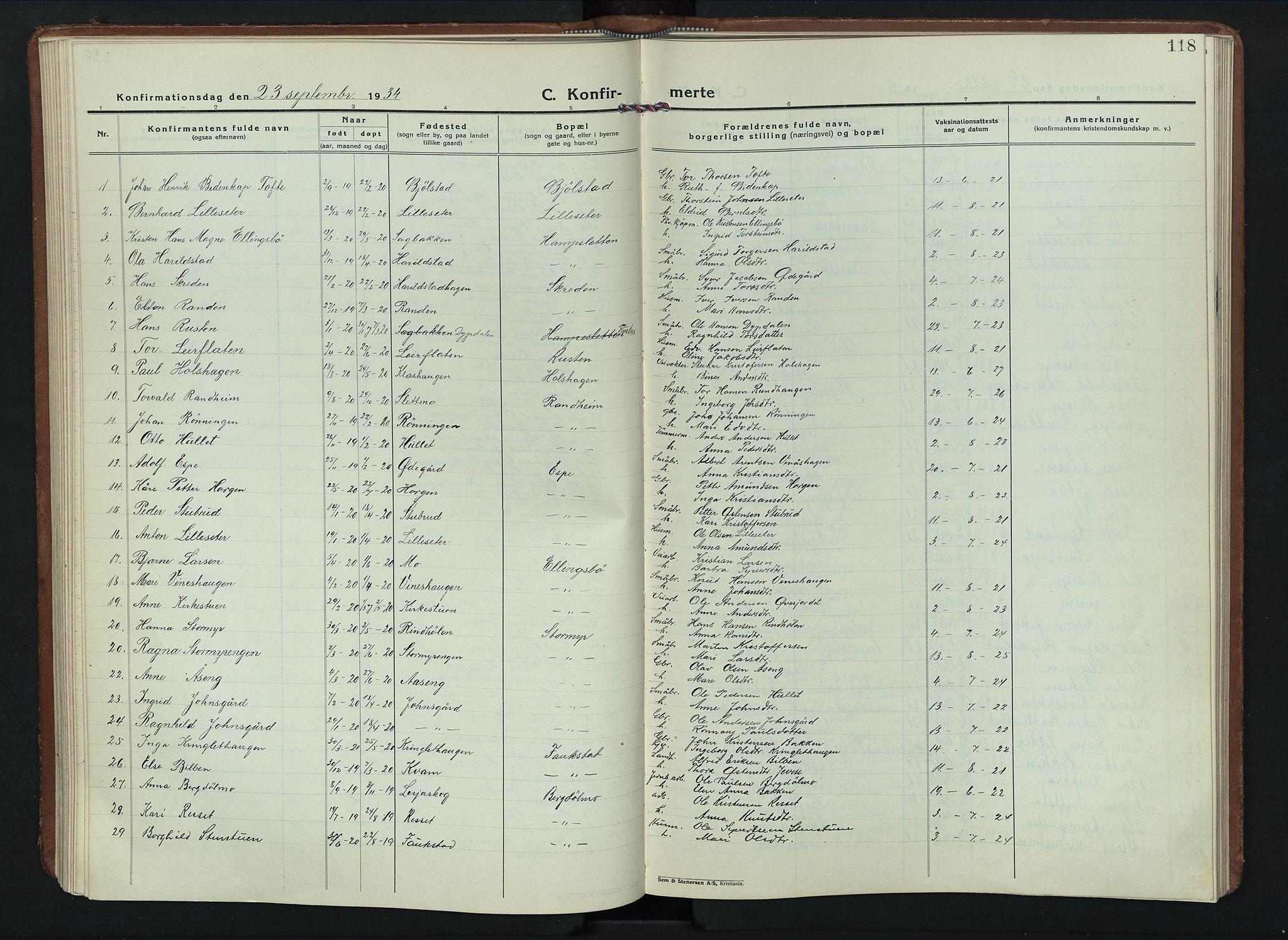 SAH, Sel prestekontor, Parish register (copy) no. 6, 1923-1953, p. 118