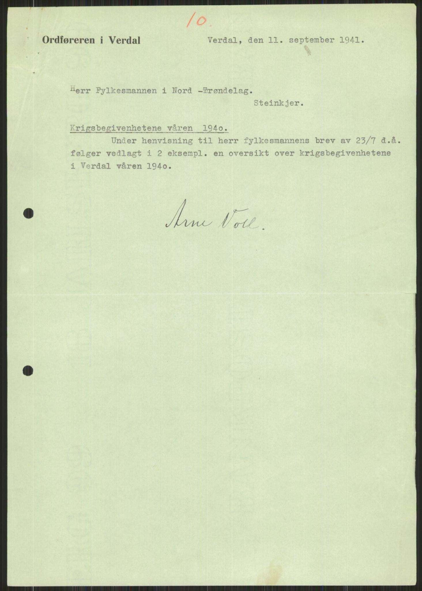 RA, Forsvaret, Forsvarets krigshistoriske avdeling, Y/Ya/L0016: II-C-11-31 - Fylkesmenn.  Rapporter om krigsbegivenhetene 1940., 1940, p. 592
