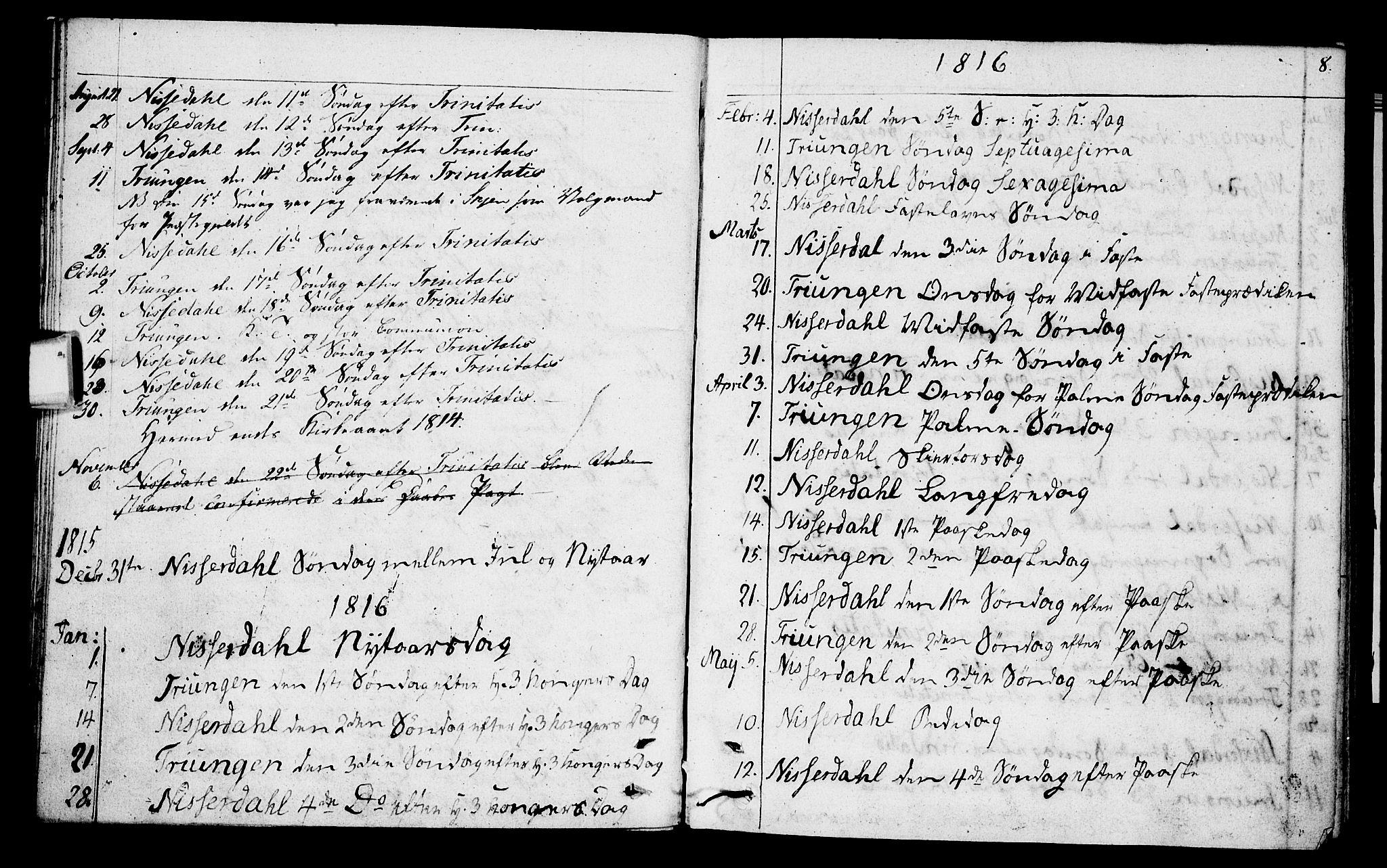 SAKO, Nissedal kirkebøker, F/Fa/L0001: Parish register (official) no. I 1, 1811-1814, p. 8