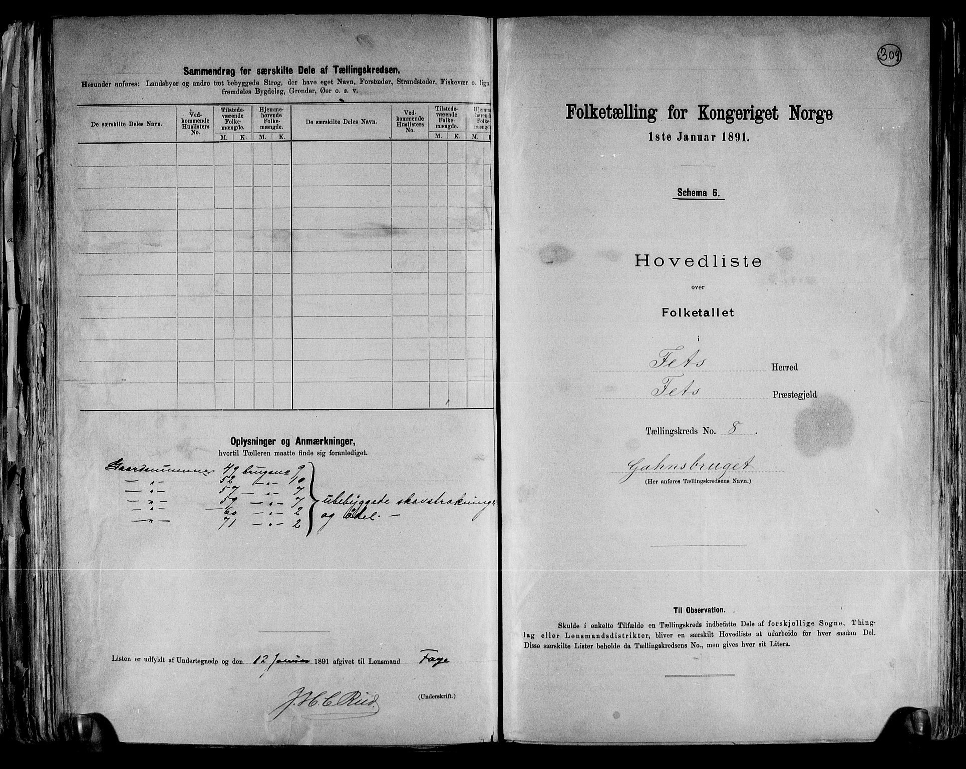 RA, 1891 census for 0227 Fet, 1891, p. 19