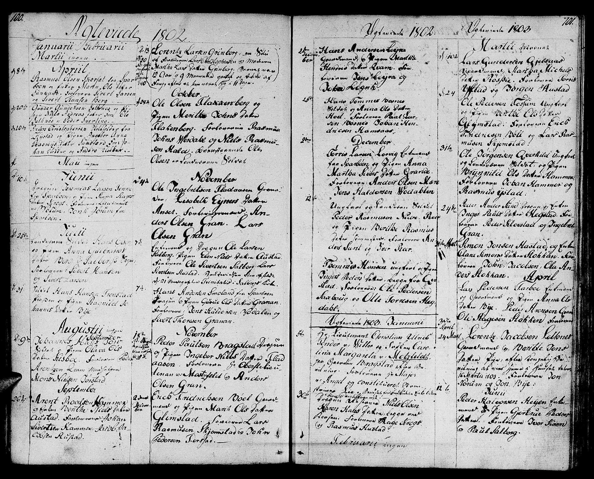SAT, Ministerialprotokoller, klokkerbøker og fødselsregistre - Nord-Trøndelag, 730/L0274: Parish register (official) no. 730A03, 1802-1816, p. 100-101