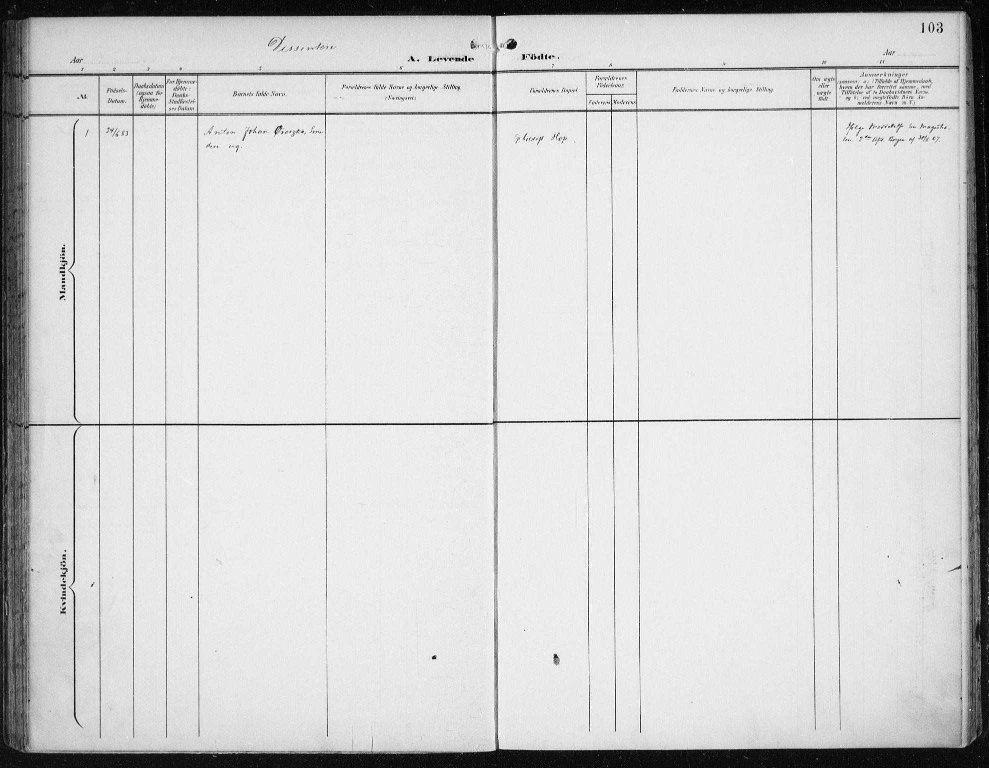 SAB, Birkeland Sokneprestembete, H/Haa: Parish register (official) no. A 3, 1900-1912, p. 103