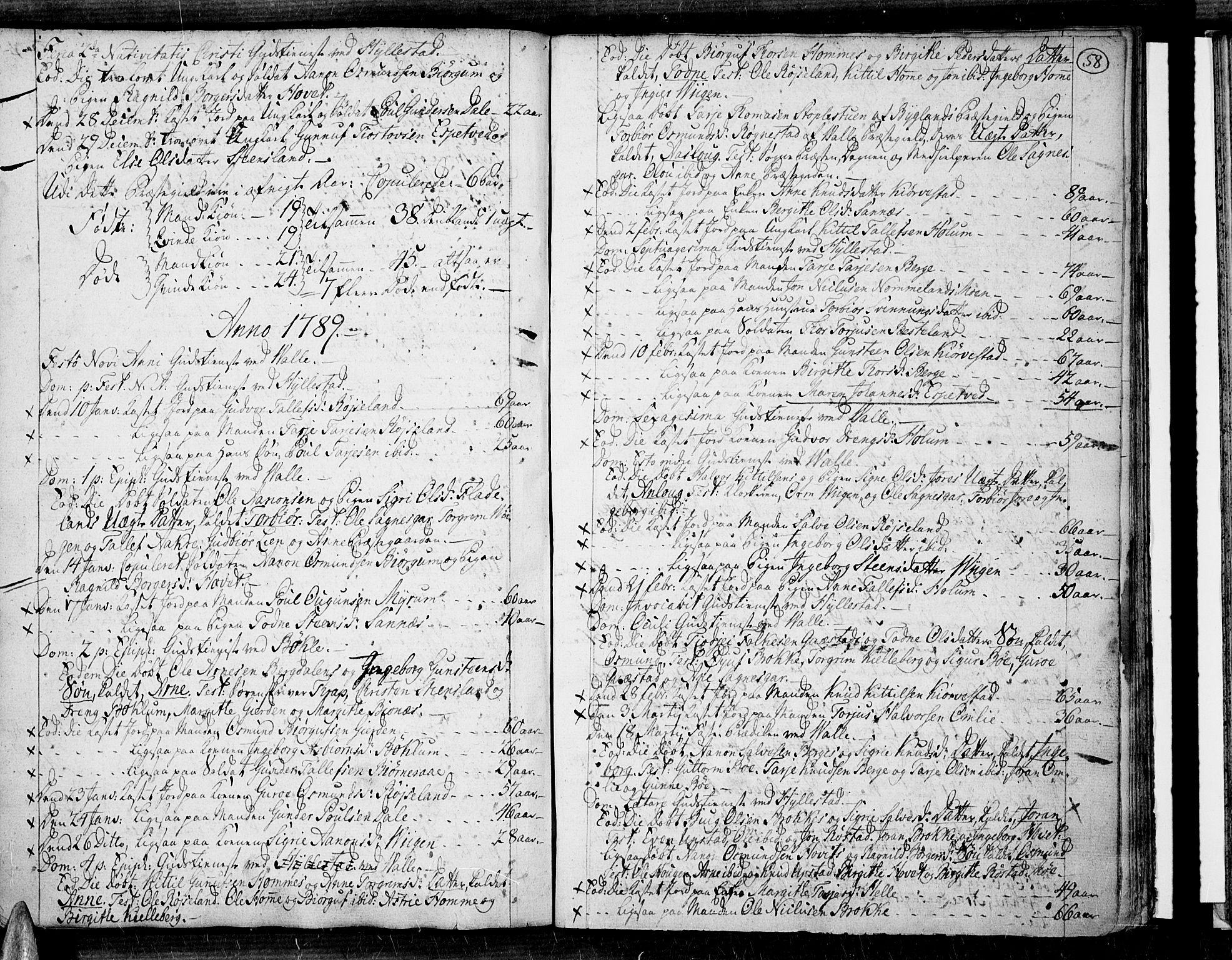 SAK, Valle sokneprestkontor, F/Fa/Fac/L0003: Parish register (official) no. A 3, 1776-1790, p. 58
