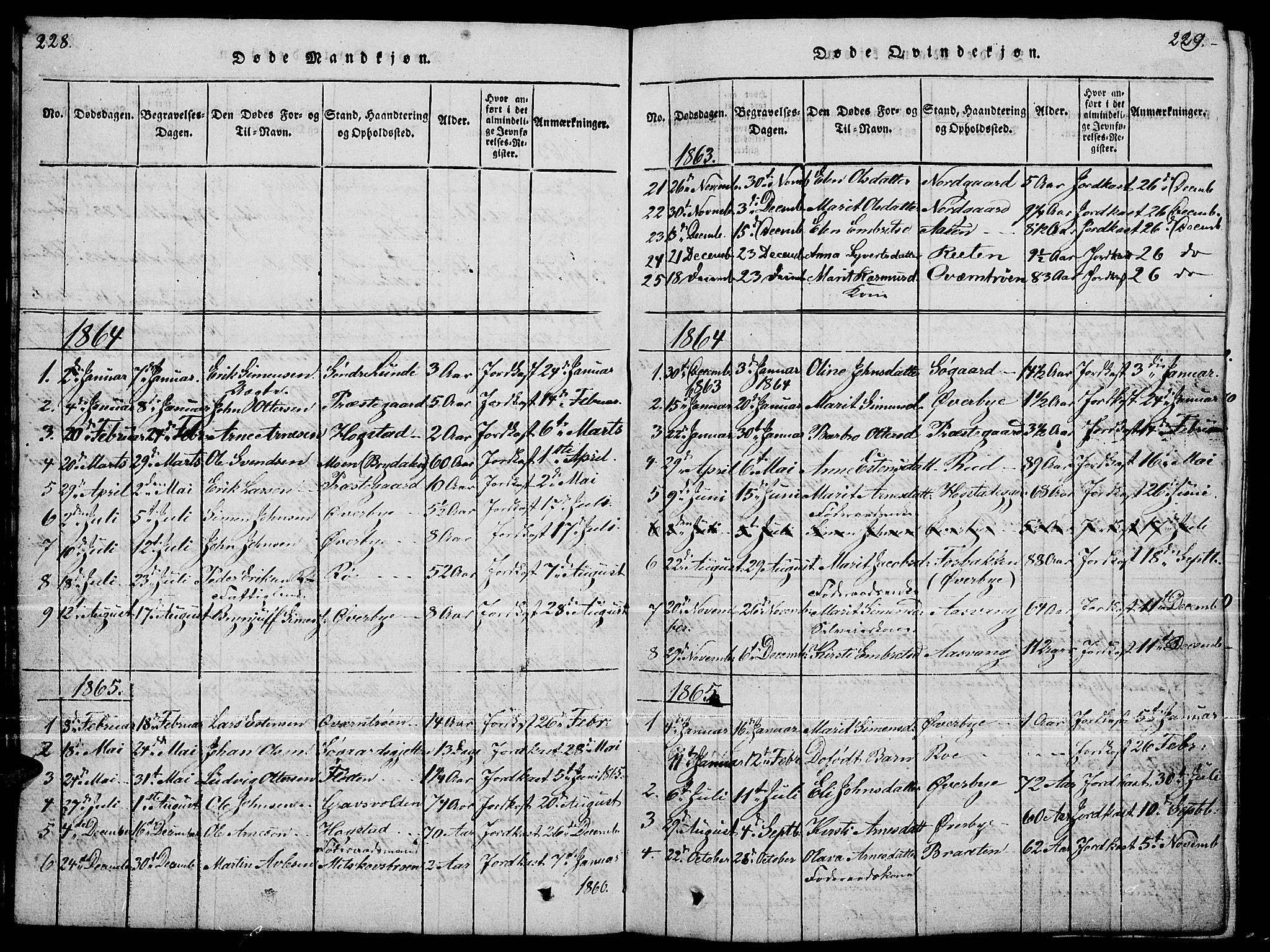 SAH, Tynset prestekontor, Parish register (copy) no. 4, 1814-1879, p. 228-229