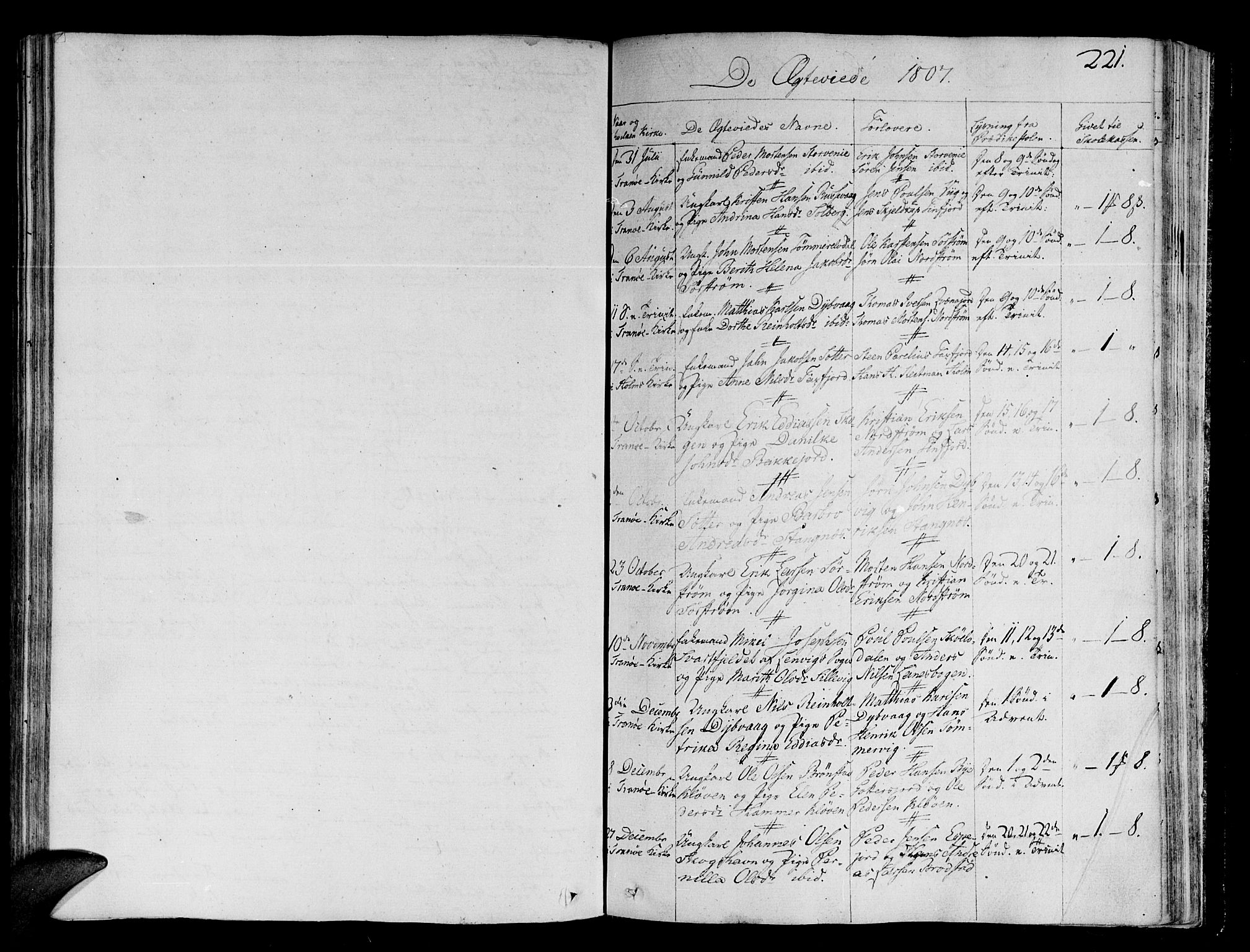 SATØ, Tranøy sokneprestkontor, I/Ia/Iaa/L0003kirke: Parish register (official) no. 3, 1807-1820, p. 221