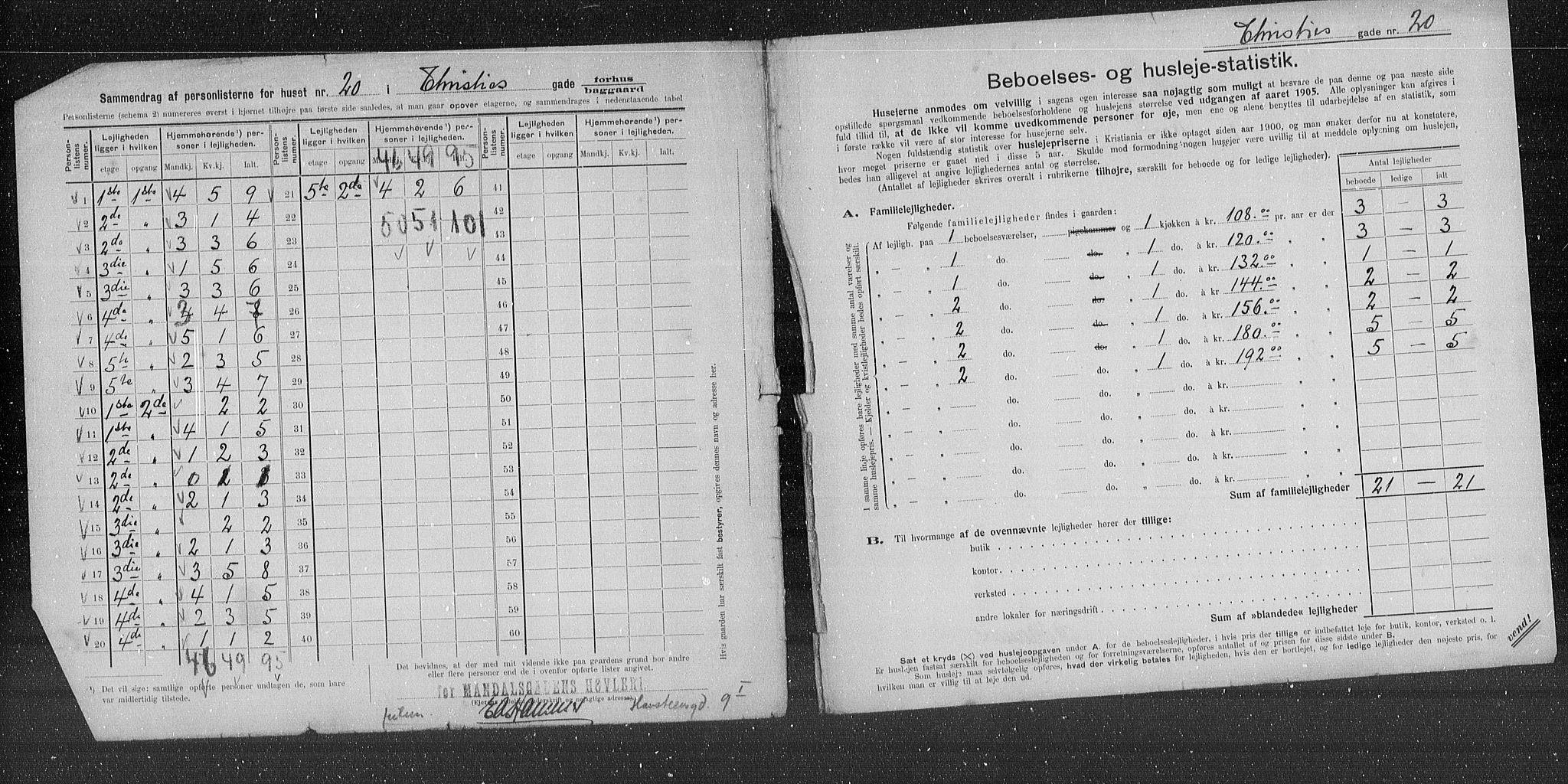 OBA, Municipal Census 1905 for Kristiania, 1905, p. 6510