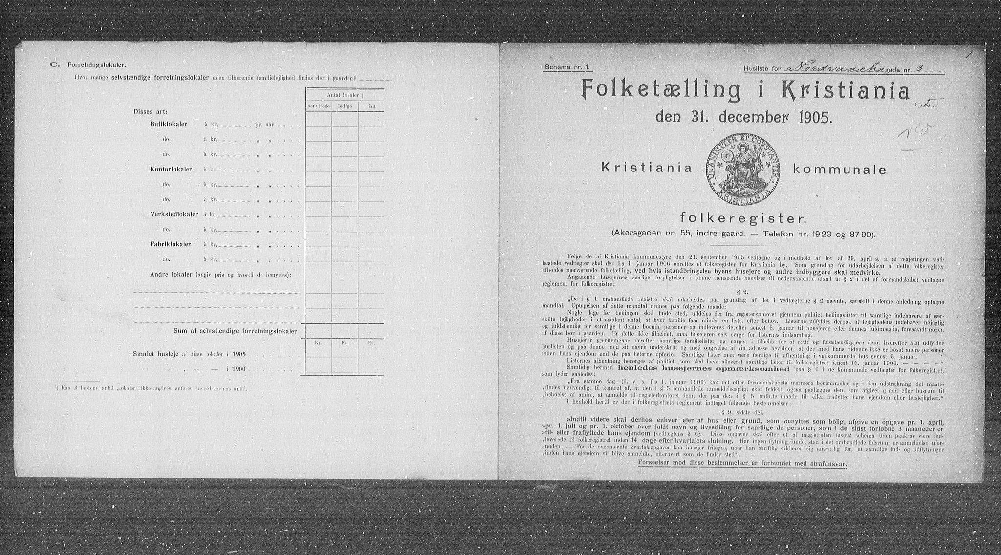 OBA, Municipal Census 1905 for Kristiania, 1905, p. 38608