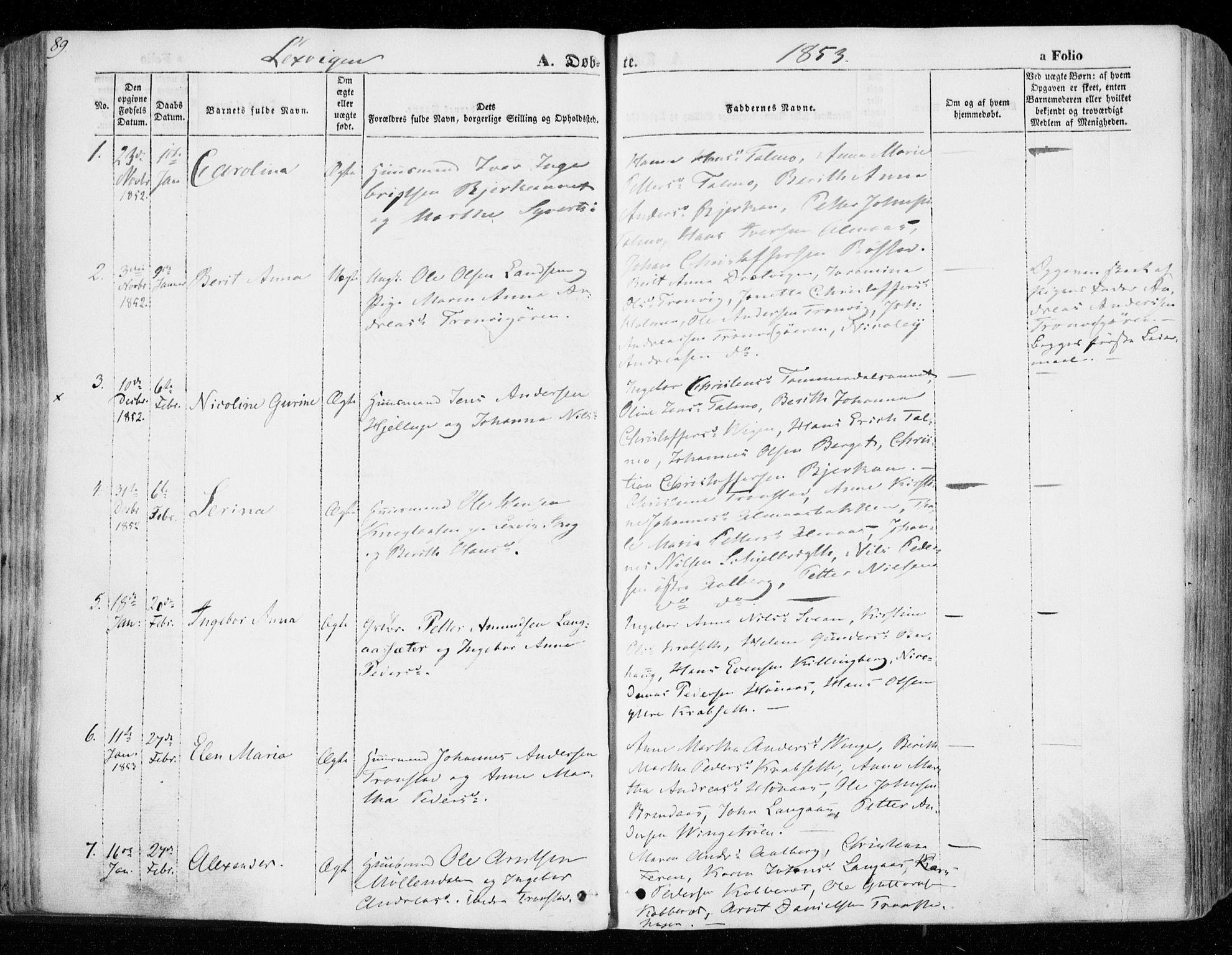 SAT, Ministerialprotokoller, klokkerbøker og fødselsregistre - Nord-Trøndelag, 701/L0007: Parish register (official) no. 701A07 /1, 1842-1854, p. 89